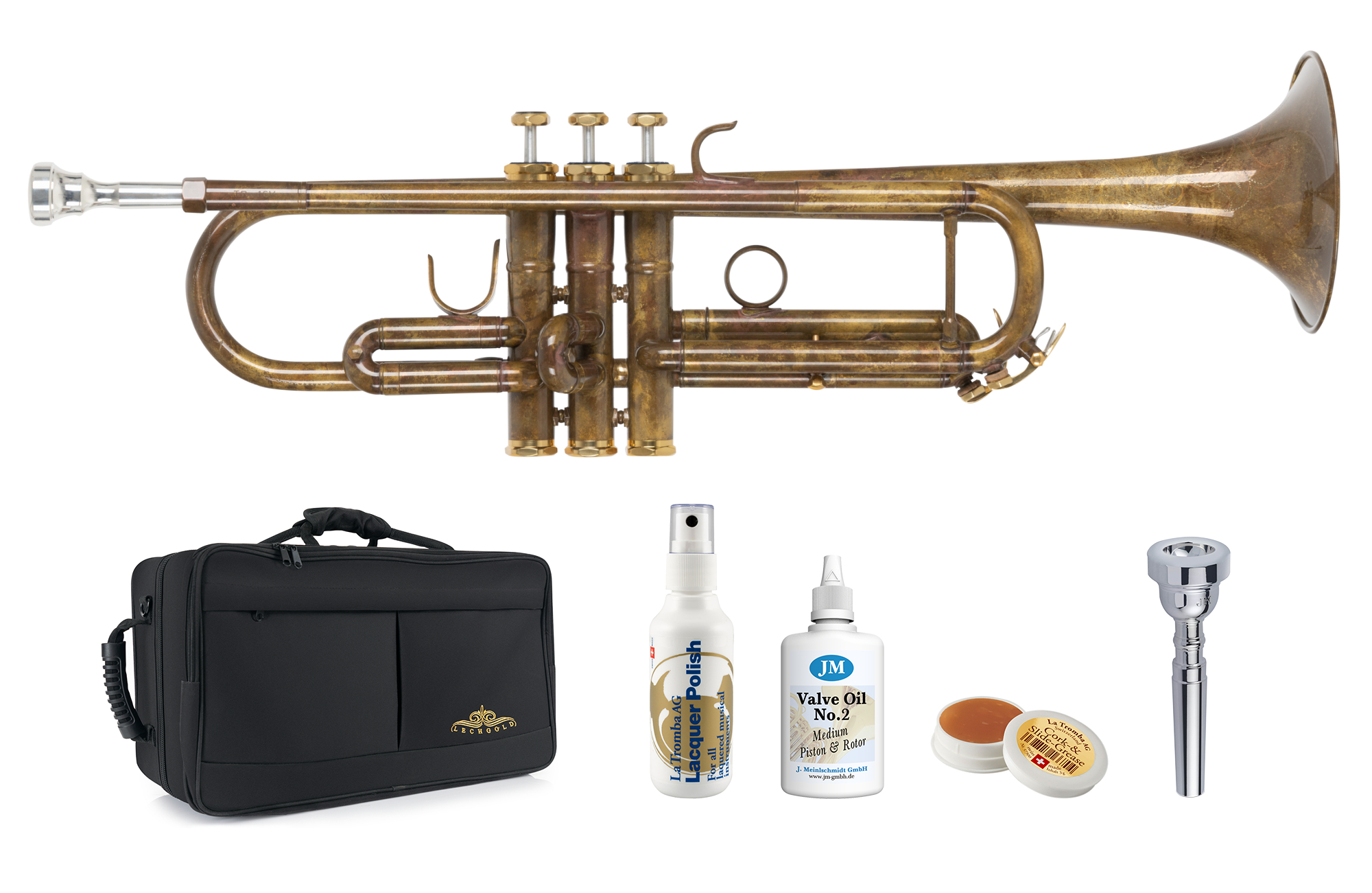 Trompeten - Lechgold TR 16V Bb Trompete antik Deluxe Set - Onlineshop Musikhaus Kirstein