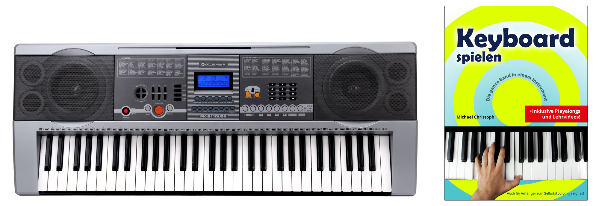 Homekeyboards - McGrey PK 6110USB Keyboard Set mit 61 Tasten, Keyboardschule, USB MP3 Player und Notenhalter - Onlineshop Musikhaus Kirstein