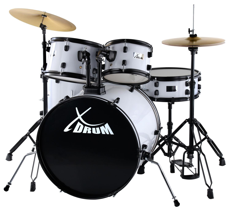 XDrum Rookie 22' Fusion Schlagzeug Komplettset White inkl. Schule DVD