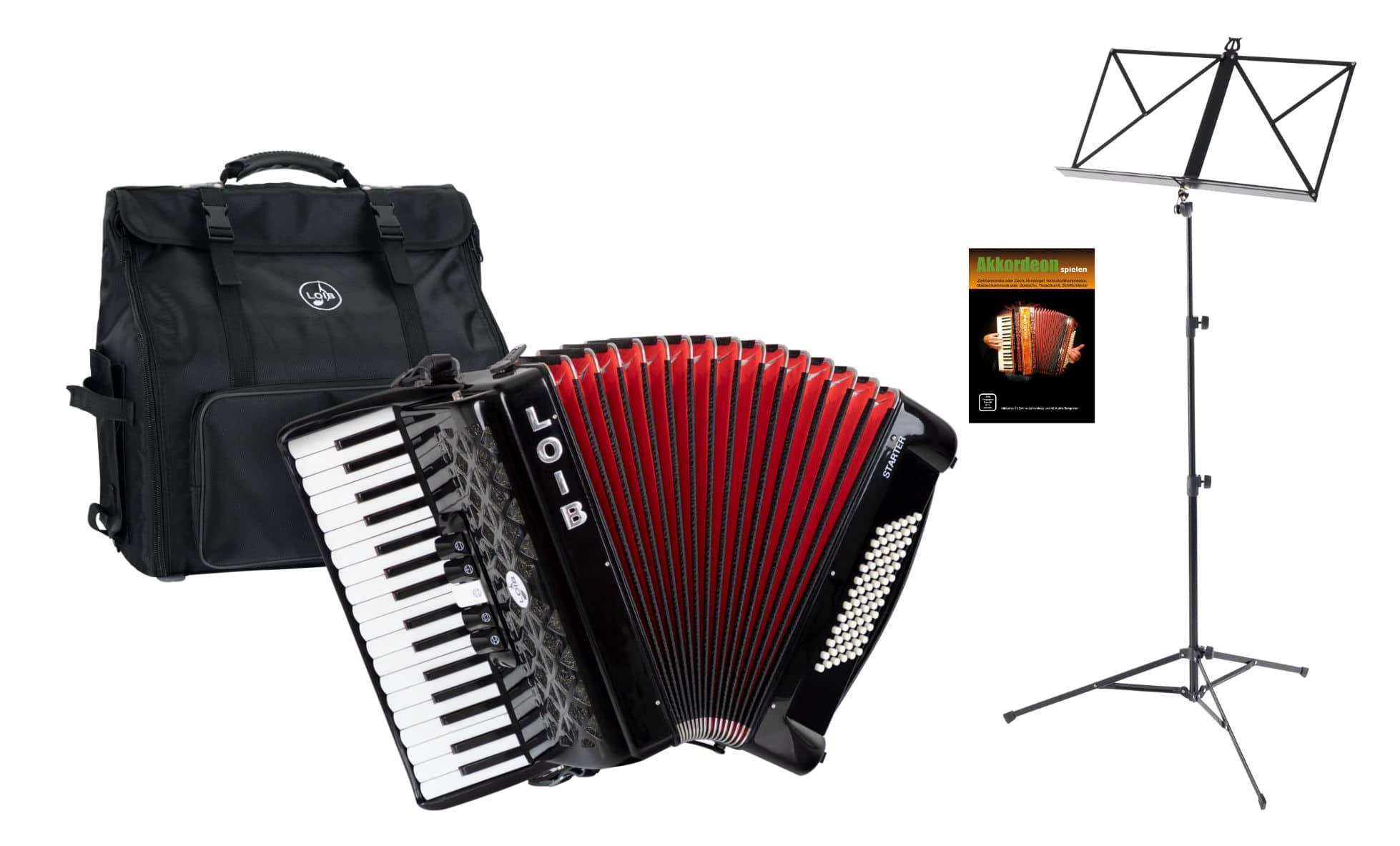 Akkordeons - Loib Starter III 72 BK Einsteiger Akkordeon Set Schwarz - Onlineshop Musikhaus Kirstein