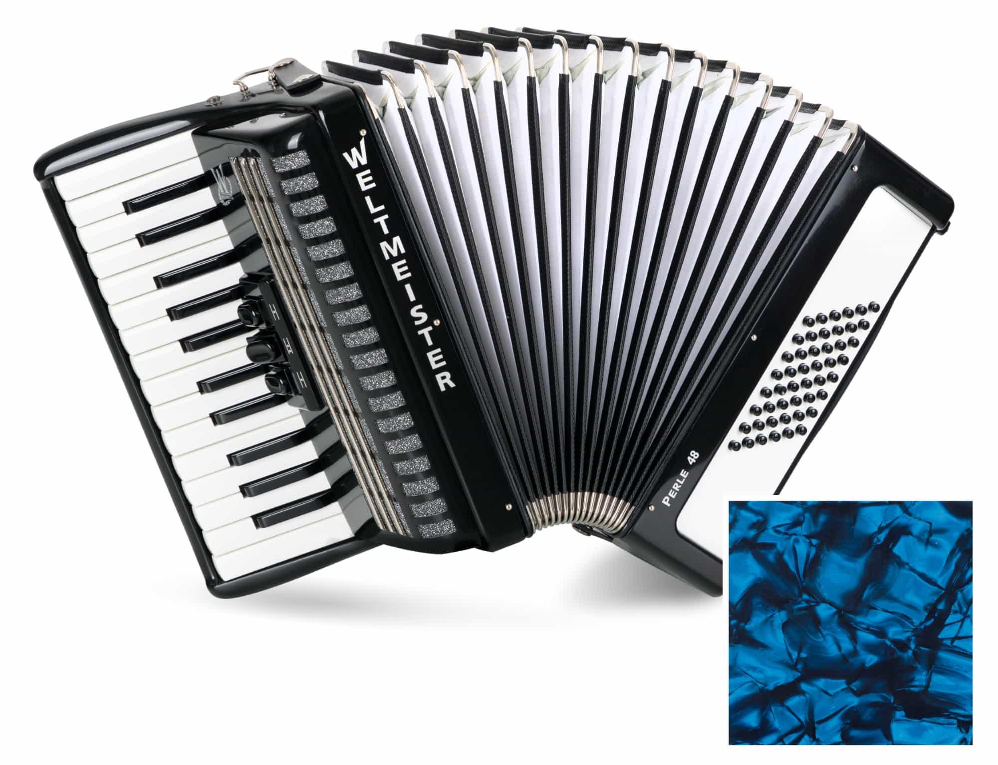 Akkordeons - Weltmeister Perle 48 Bass Akkordeon 2 chörig Blauperloid - Onlineshop Musikhaus Kirstein