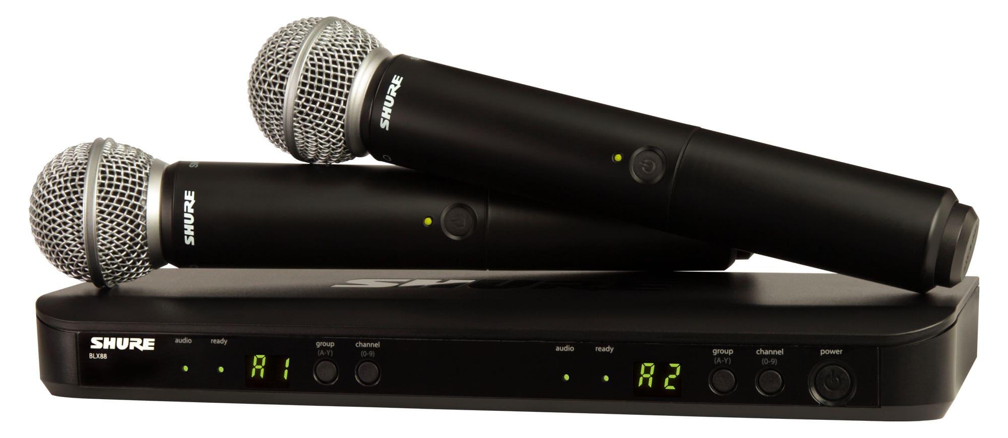 Drahtlossysteme - Shure BLX288|SM58 Combo T11 Dual Funksystem - Onlineshop Musikhaus Kirstein