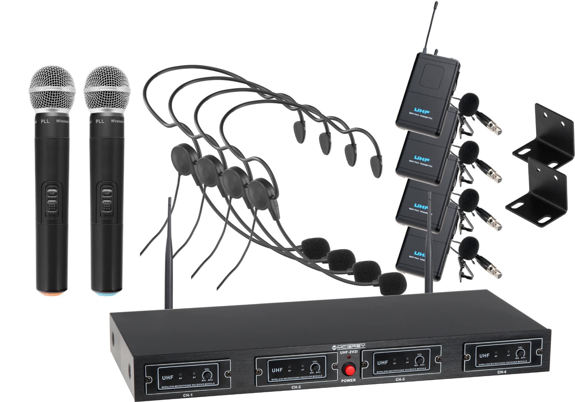 Drahtlossysteme - McGrey UHF 2V4H Quad Funkmikrofon Set mit 2x Handmikrofon, 4 Headsets und Taschensender - Onlineshop Musikhaus Kirstein