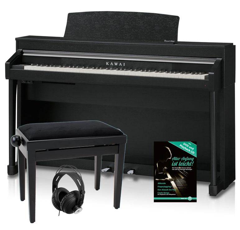 kawai ca 67 b digitalpiano schwarz matt set inkl bank kopfh rer pianoschule. Black Bedroom Furniture Sets. Home Design Ideas