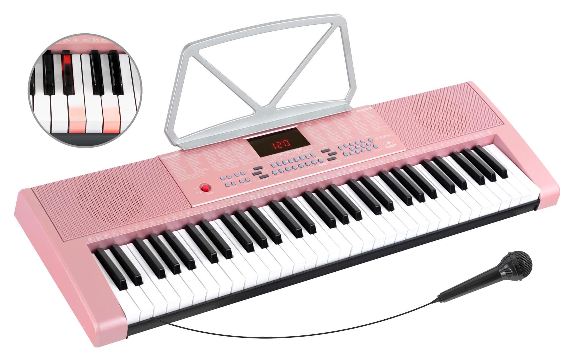 Homekeyboards - McGrey LK 6120 MIC Leuchttasten Keyboard mit Mikrofon pink - Onlineshop Musikhaus Kirstein