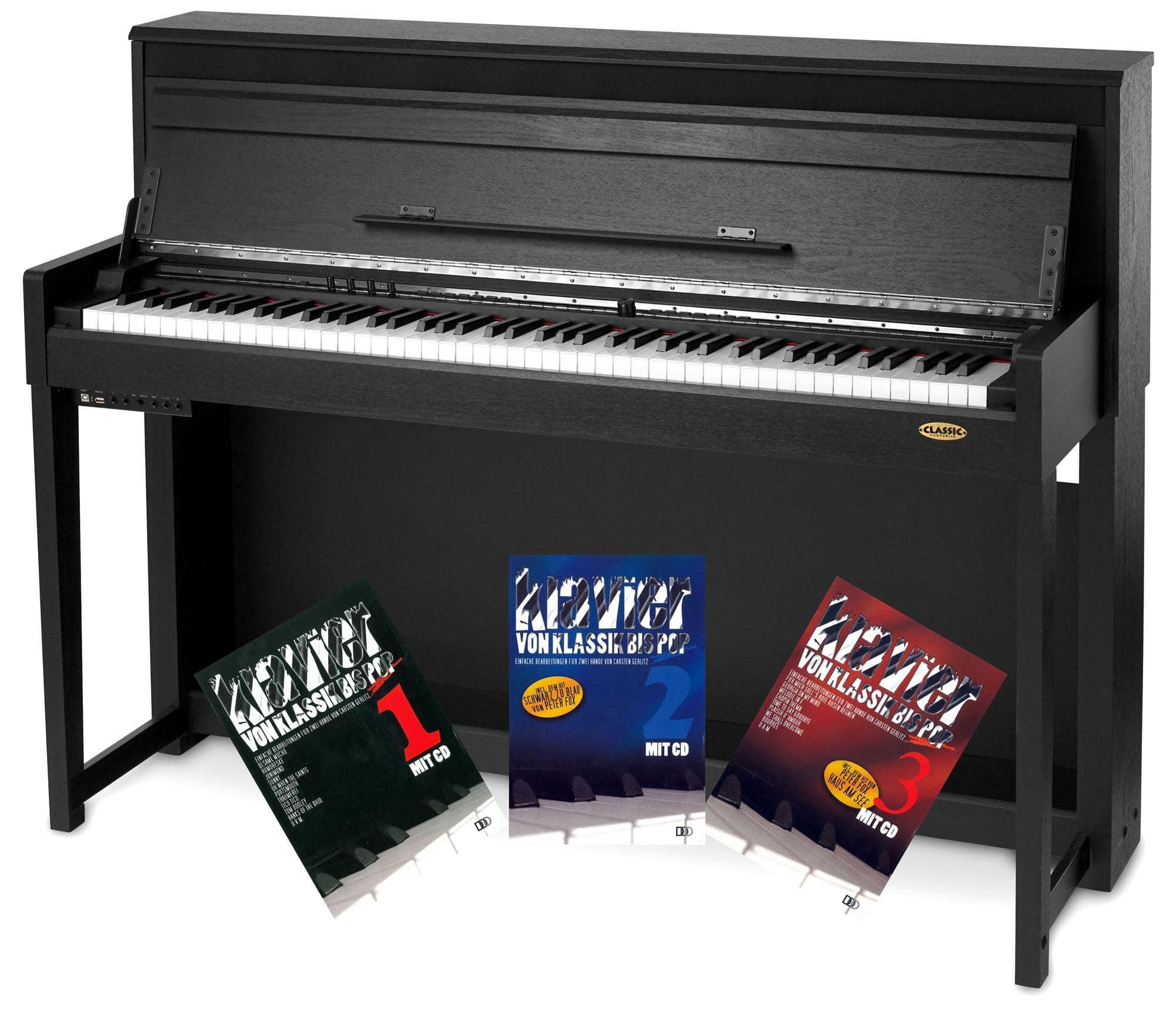 Classic Cantabile UP 1 SM Upright E Piano Schwarz matt Klavierschule Set