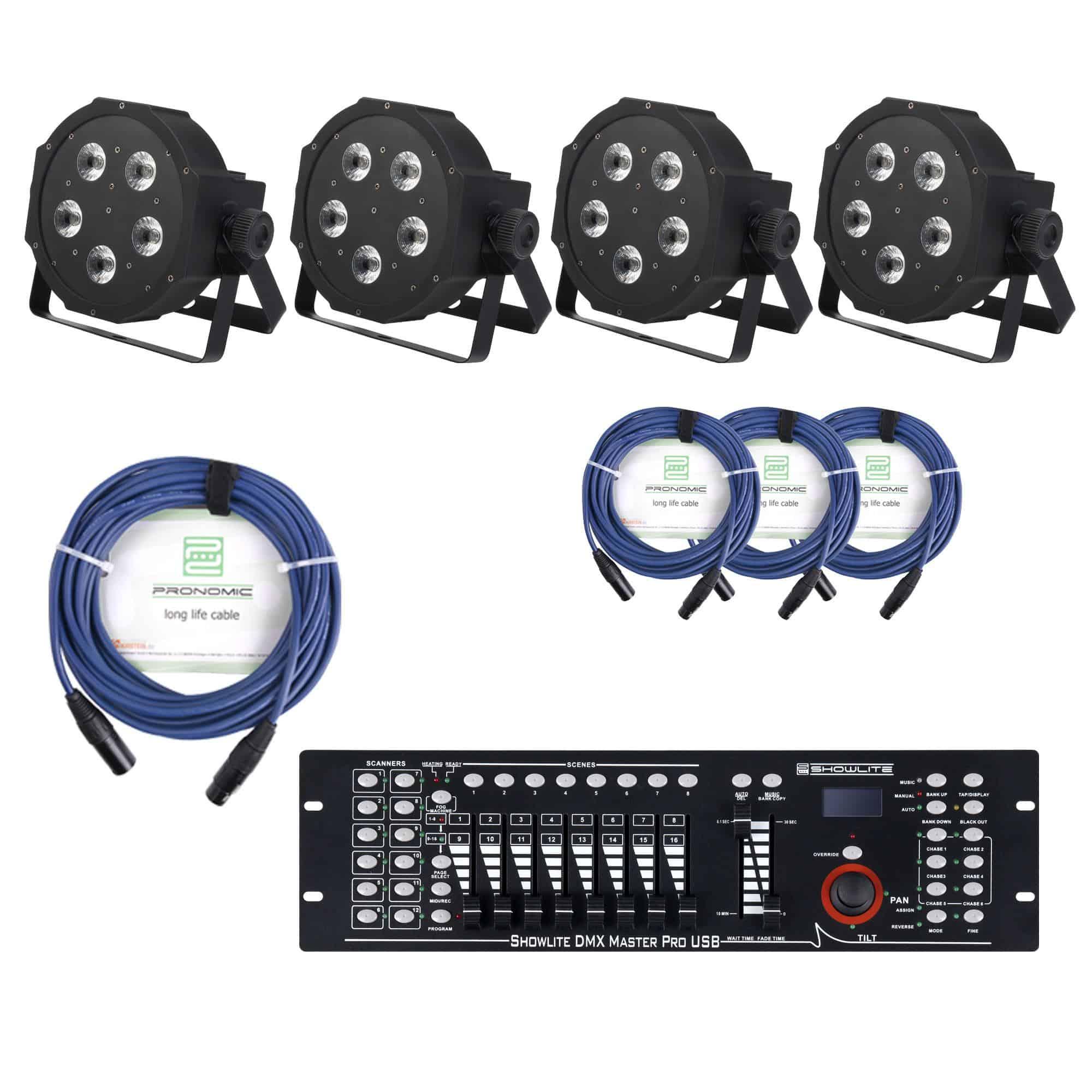 Showlite FLP 5x9W Scheinwerfer 4 x SET inkl. DMX Controller Master Pro USB Kabel