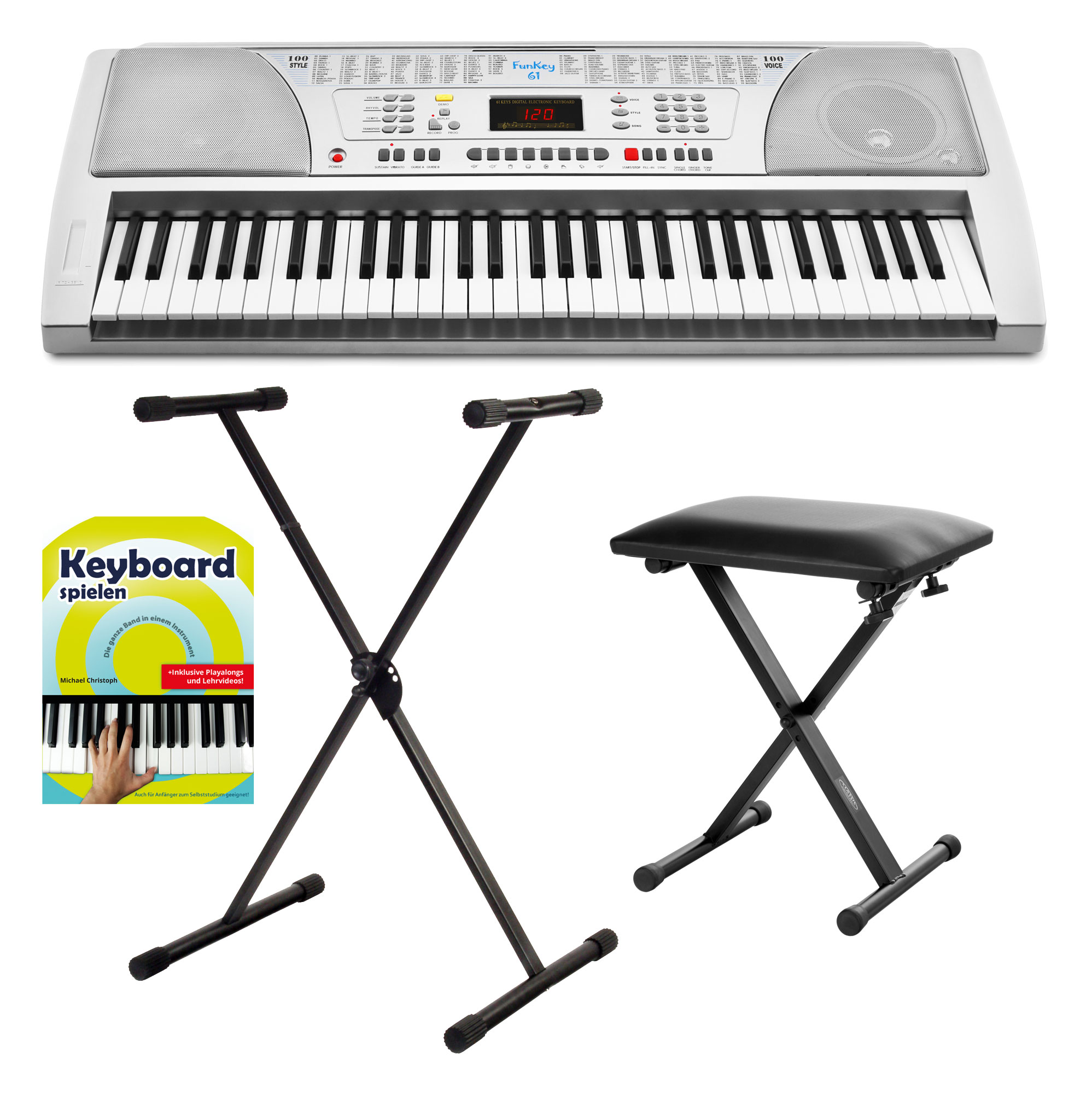 Homekeyboards - FunKey 61 Keyboard SET inkl. Keyboardständer Bank Noten CD - Onlineshop Musikhaus Kirstein