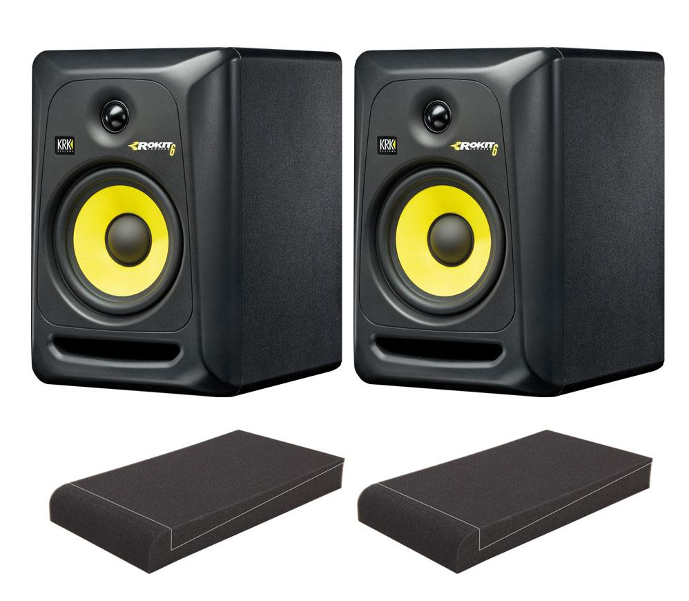 KRK ROKIT RP6 G3 Studio Monitor SET mit Pronomic ISO Stand 7' Absorberplatten