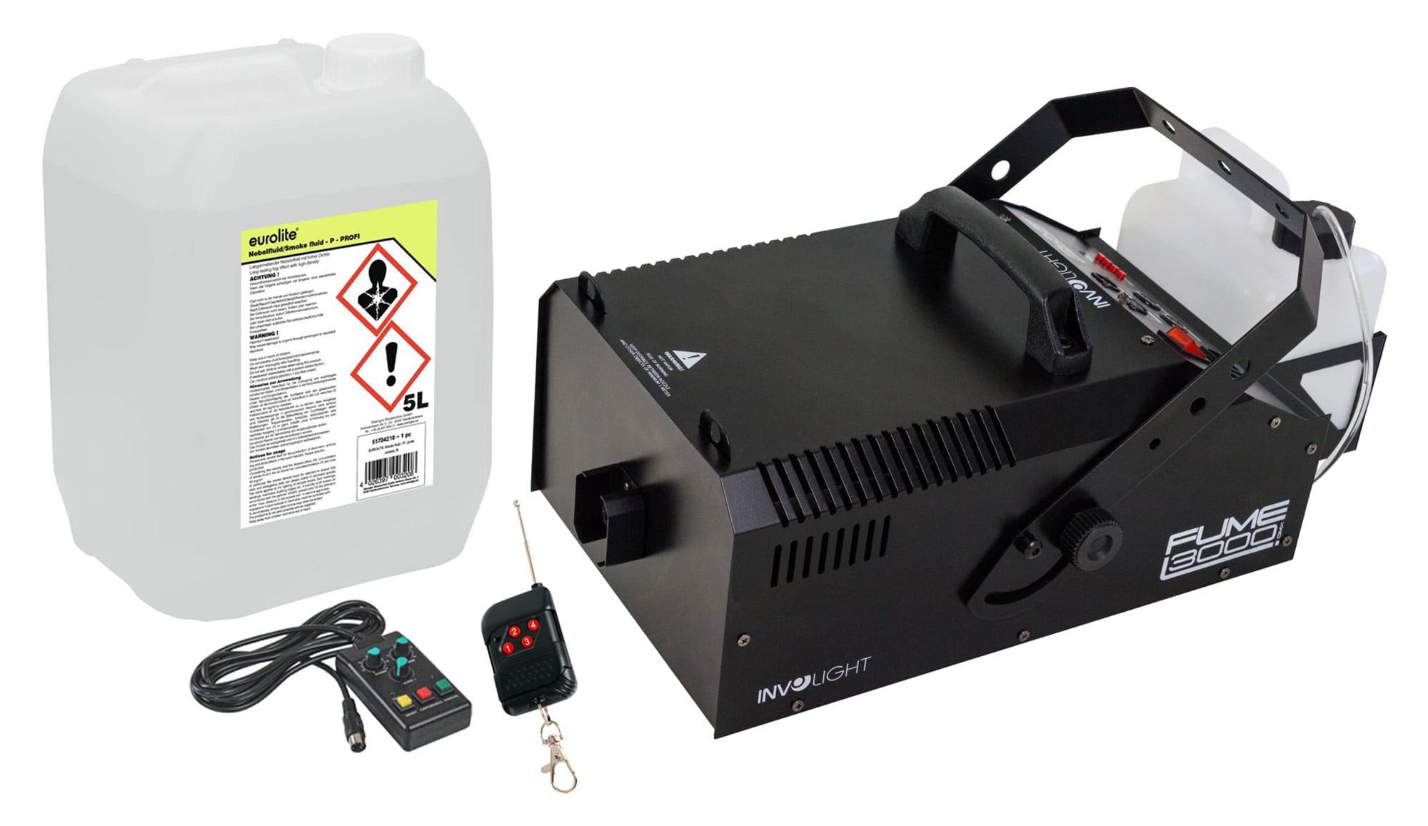 Nebeleffekte - Involight Fume 3000 DMX Nebelmaschinen D 800 Set inkl. Smoke Fluid, 5L - Onlineshop Musikhaus Kirstein