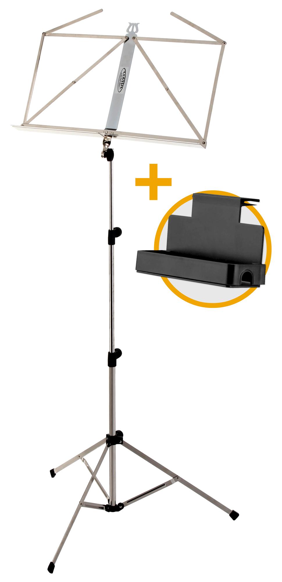 Musikerzubehoer - Classic Cantabile Notenständer Light Nickel Set inkl. Ablagebox - Onlineshop Musikhaus Kirstein