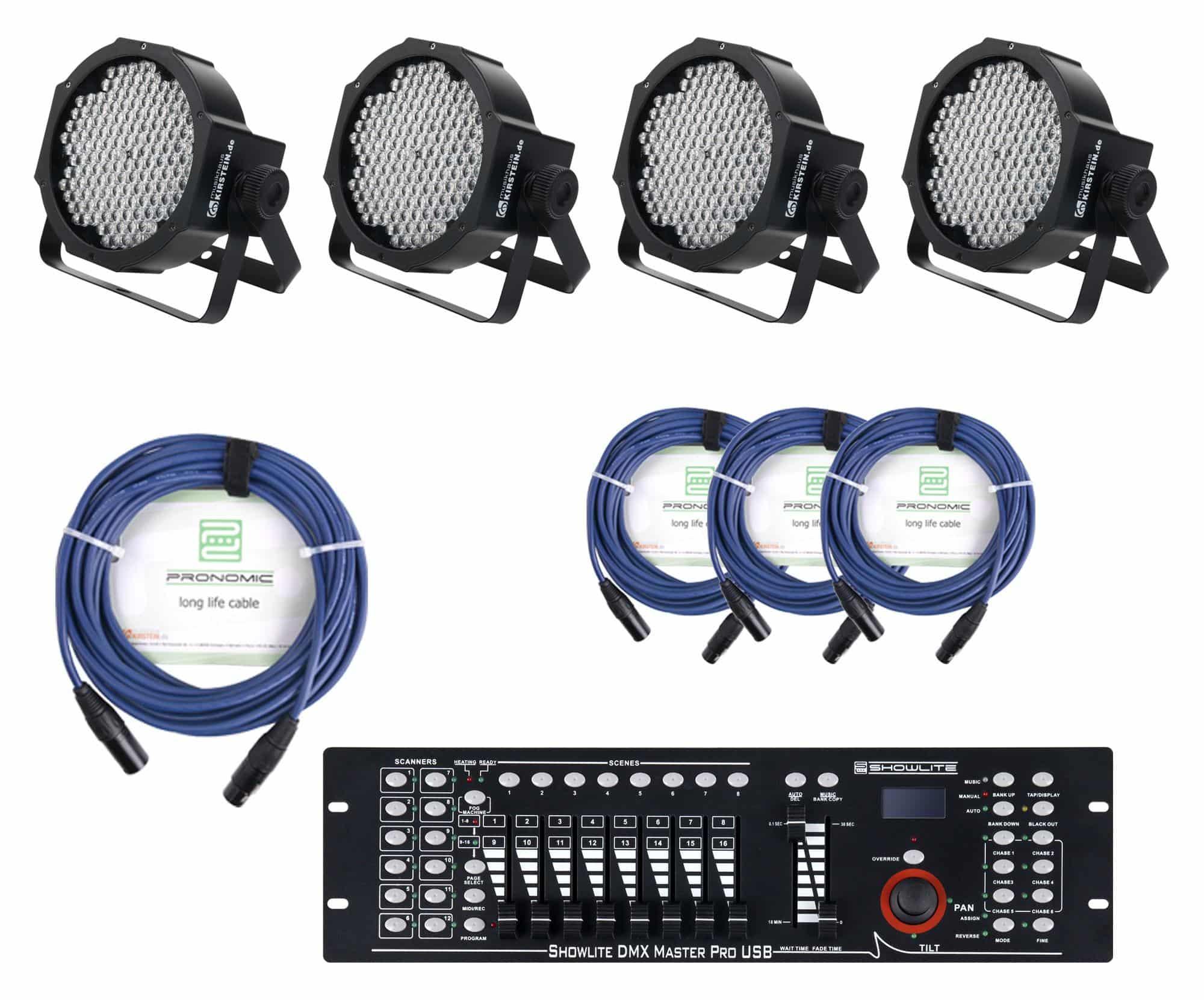 Lichtsets - Showlite FLP 144W Scheinwerfer 4 x Set inkl. Showlite Master Pro USB Kabel - Onlineshop Musikhaus Kirstein