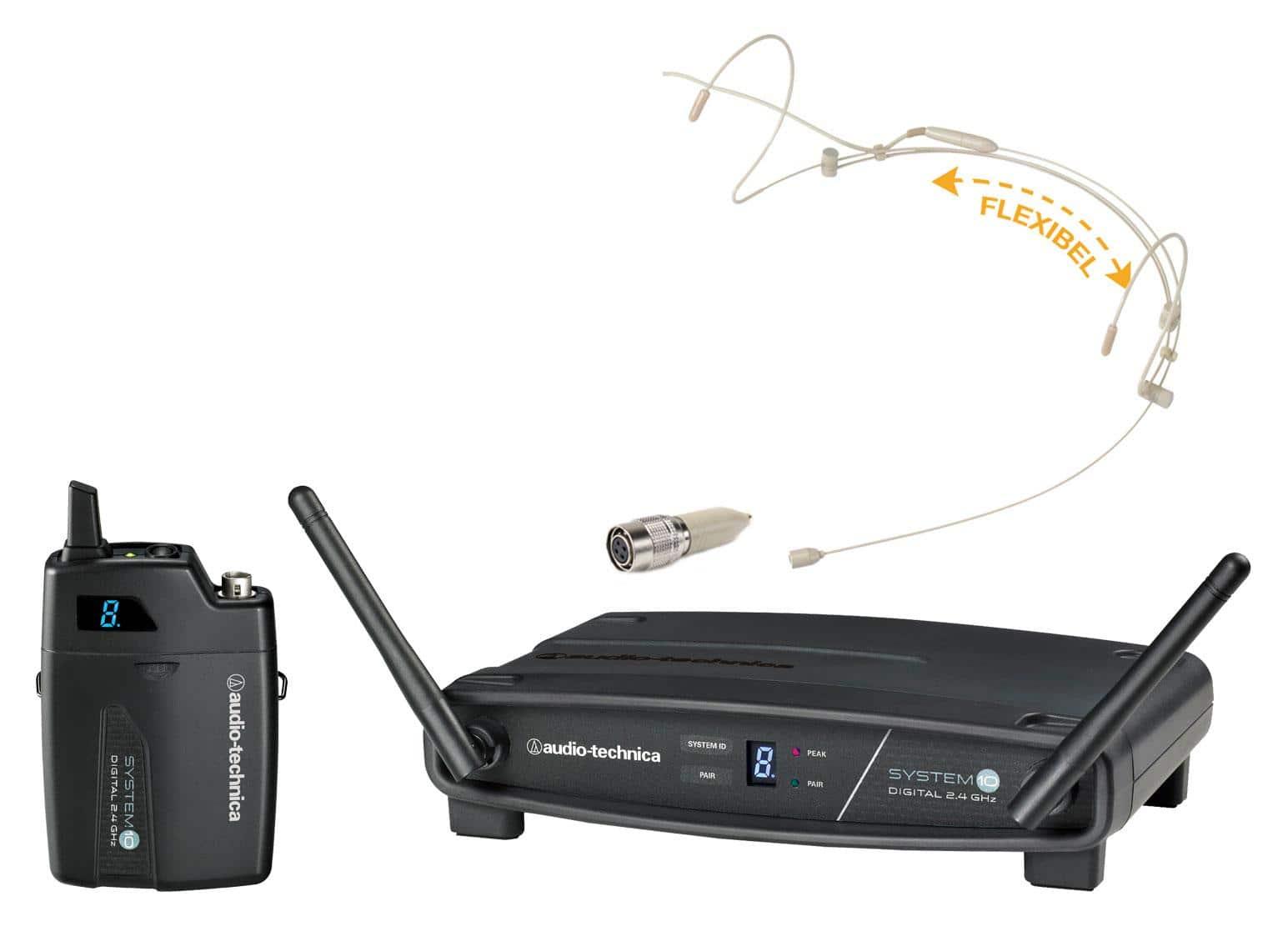 Drahtlossysteme - Audio Technica ATW 1101 Komplettset inkl. Headset Beige Funkadapter - Onlineshop Musikhaus Kirstein