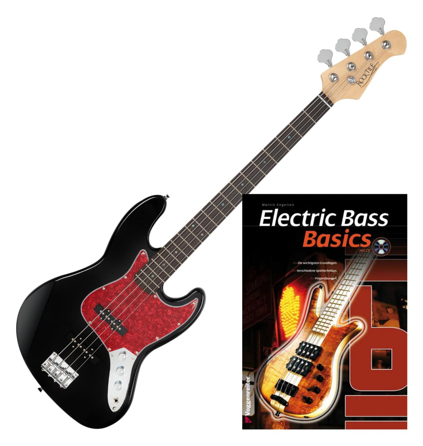 Rocktile Pro JB 30BK 70s Deluxe E Bass SET Noten CD