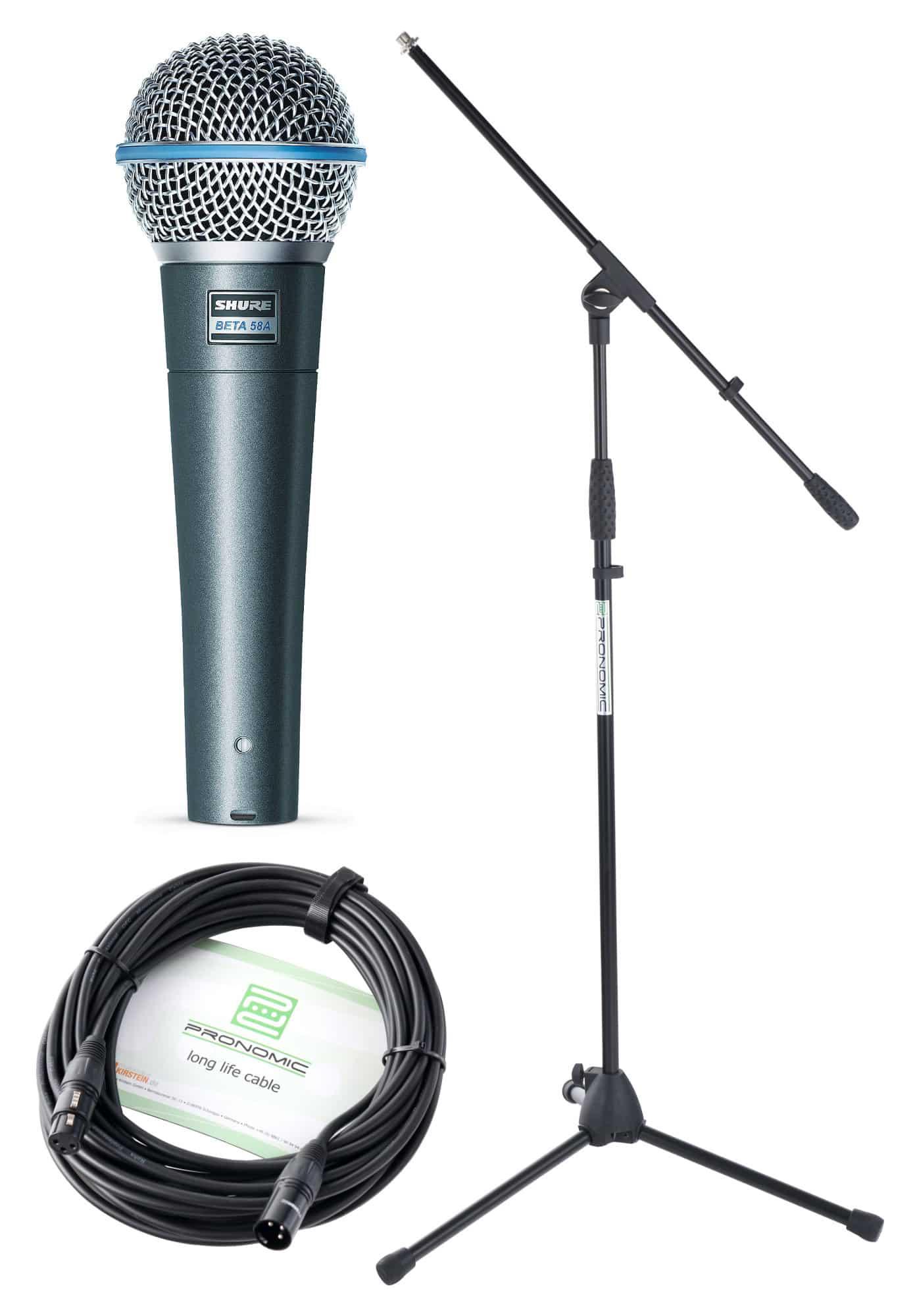 Shure Beta 58A Mikrofon Set Ständer Kabel