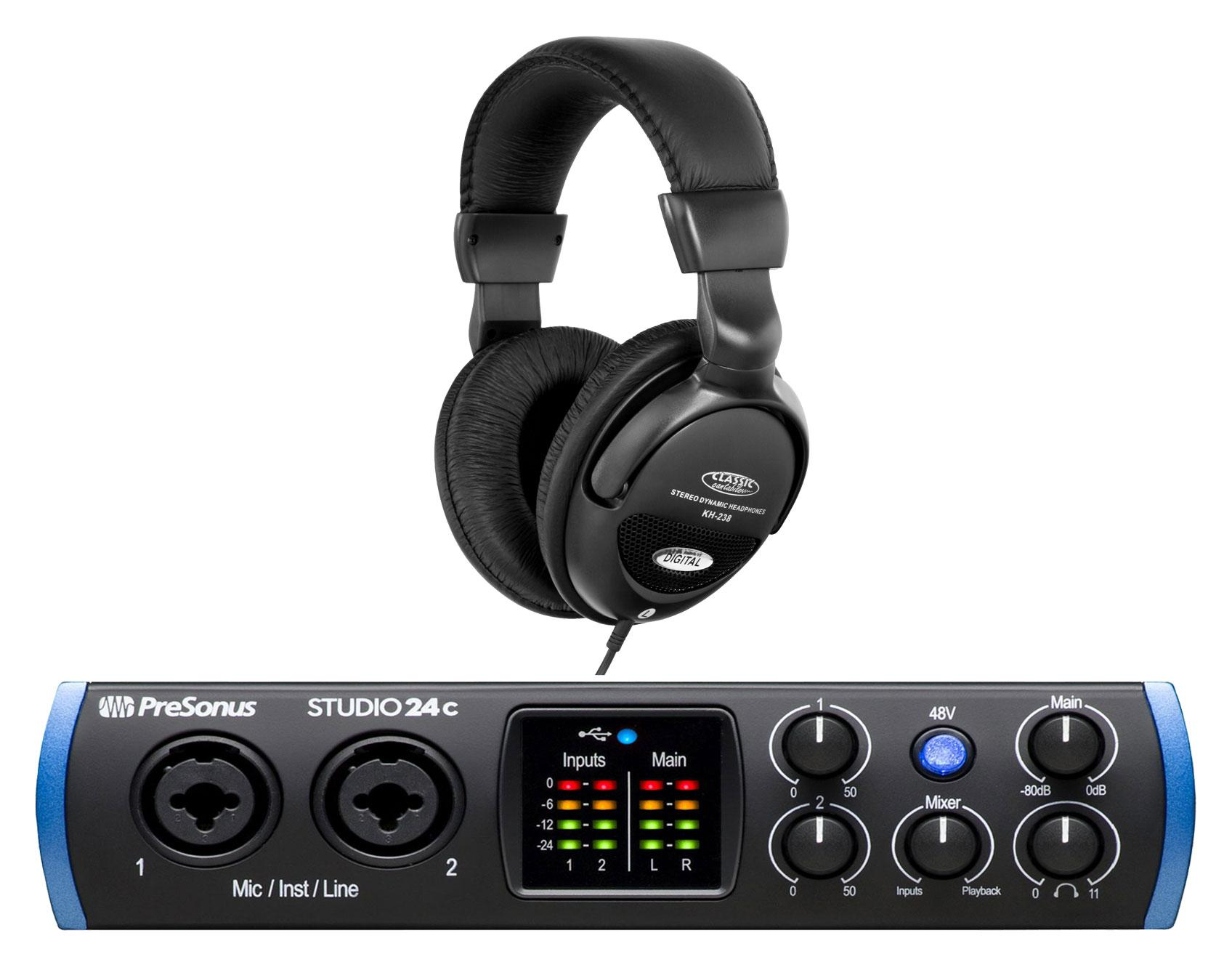 PreSonus Studio 24c USB C Audio Interface Set