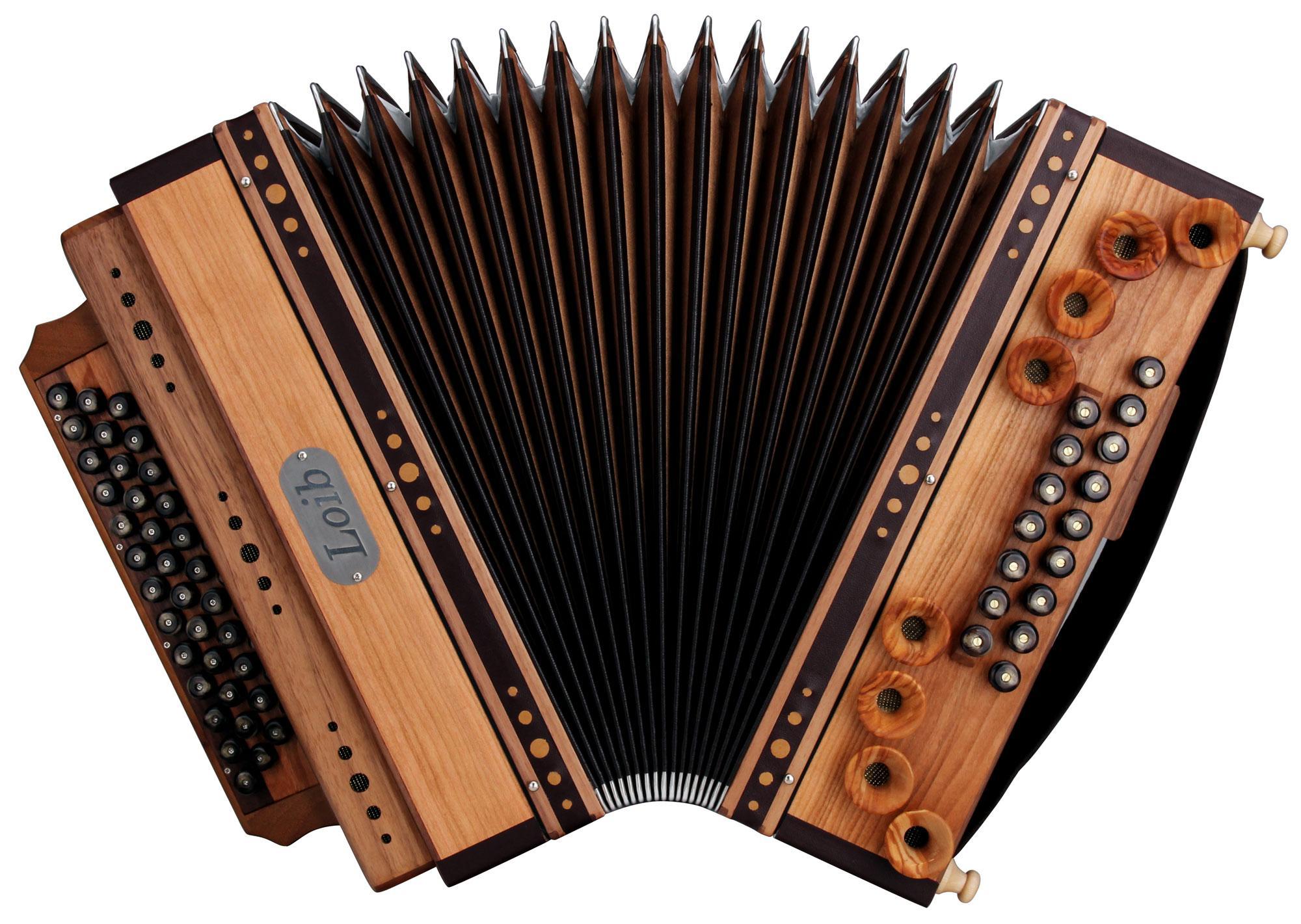 Loib Harmonika IVD Kirsche/Nuss B-Es-As-Des H-Bass X-Bass Holzverdeck