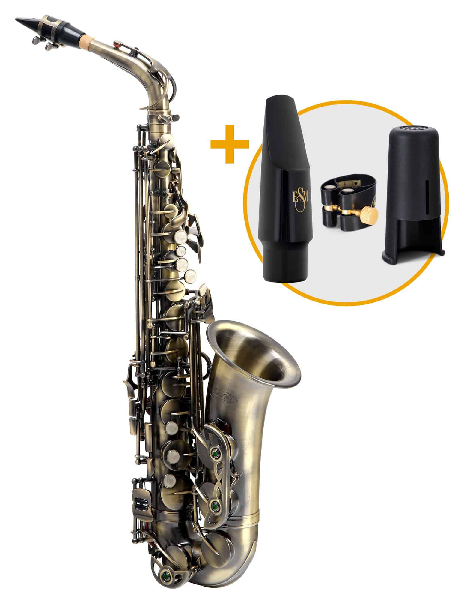 Saxophone - Classic Cantabile Winds AS 450 Antique Yellow Altsaxophon ESM Set - Onlineshop Musikhaus Kirstein
