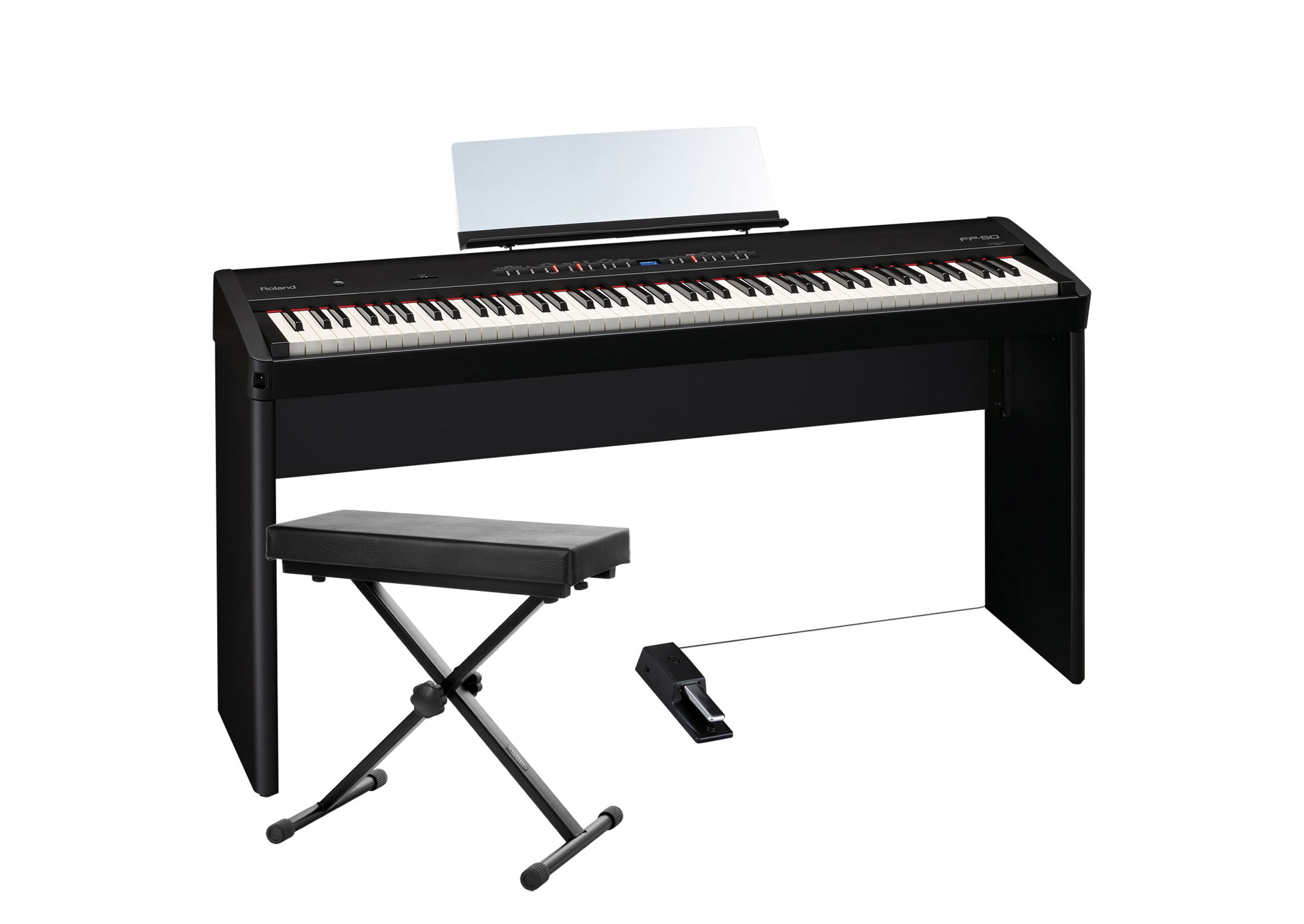 Roland FP 50 BK Stagepiano SET mit Pianoständer und Bank