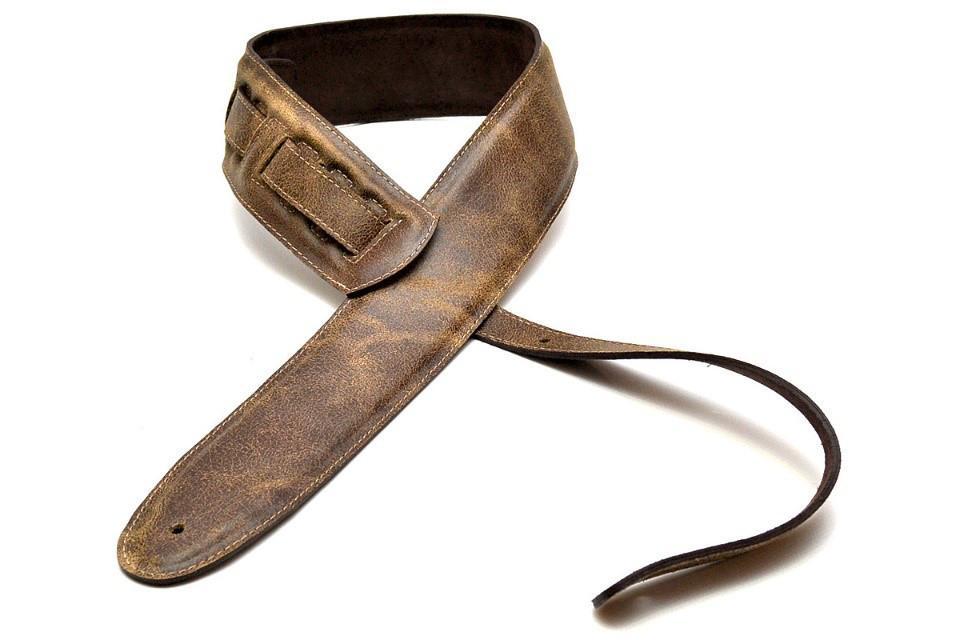 Zubehoergitarren - Bourbon Strap Crackle Gitarrengurt Leder Vintage 90 bis 150 x 6,5 cm braun - Onlineshop Musikhaus Kirstein