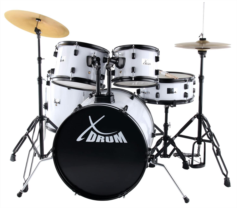 XDrum Rookie 20' Studio Schlagzeug Komplettset White inkl. Schule DVD