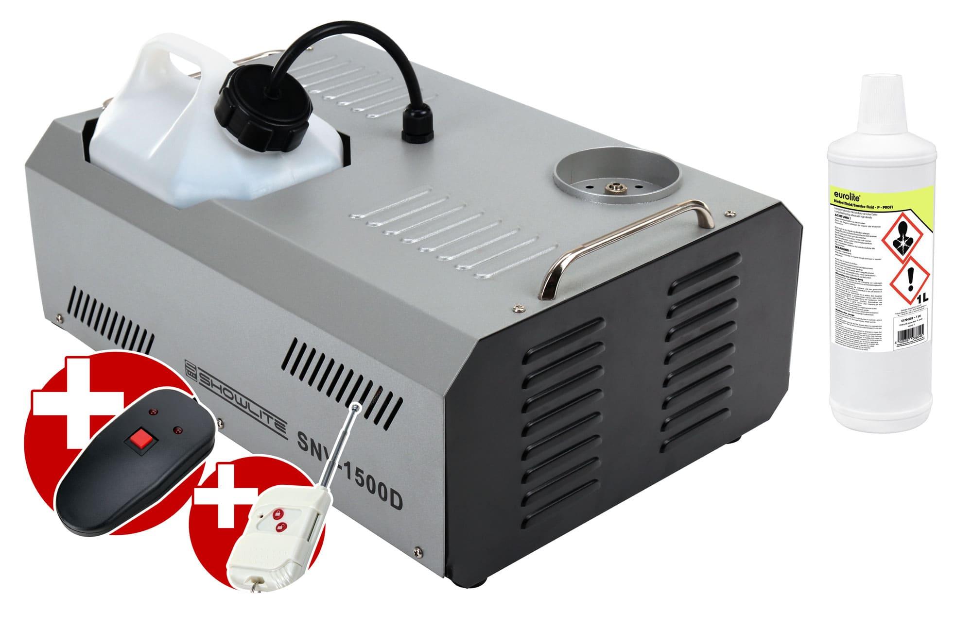 Komplettset Showlite SNV 1500D DMX Vertikal Nebelmaschine 1500W inkl. Fernbedienung 1 L Nebelfluid