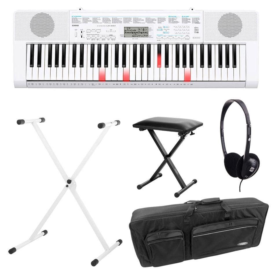 Casio LK 247 Leuchttasten Keyboard Deluxe SET inkl. Kopfhörer, Ständer, Bank und Tasche