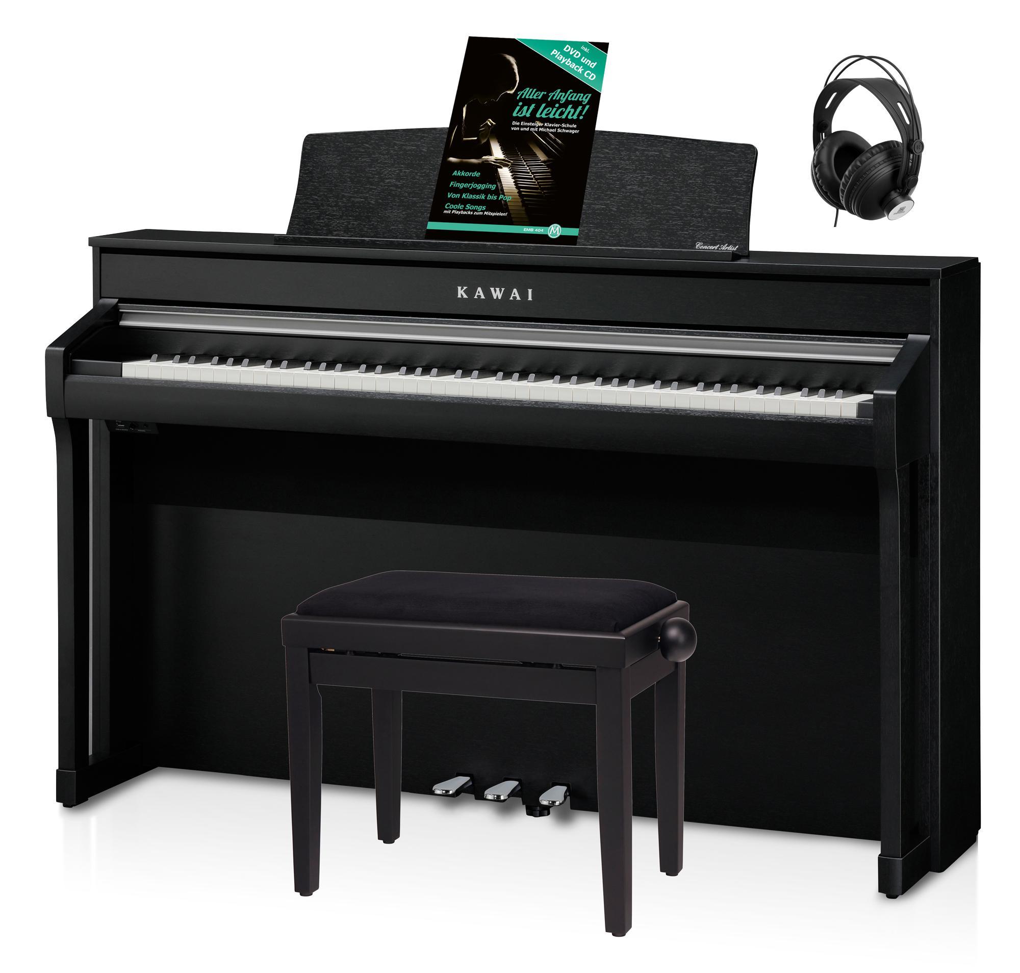 Kawai CA 98 B Digital Piano Schwarz Set inkl. Pianobank, Kopfhörer Schule