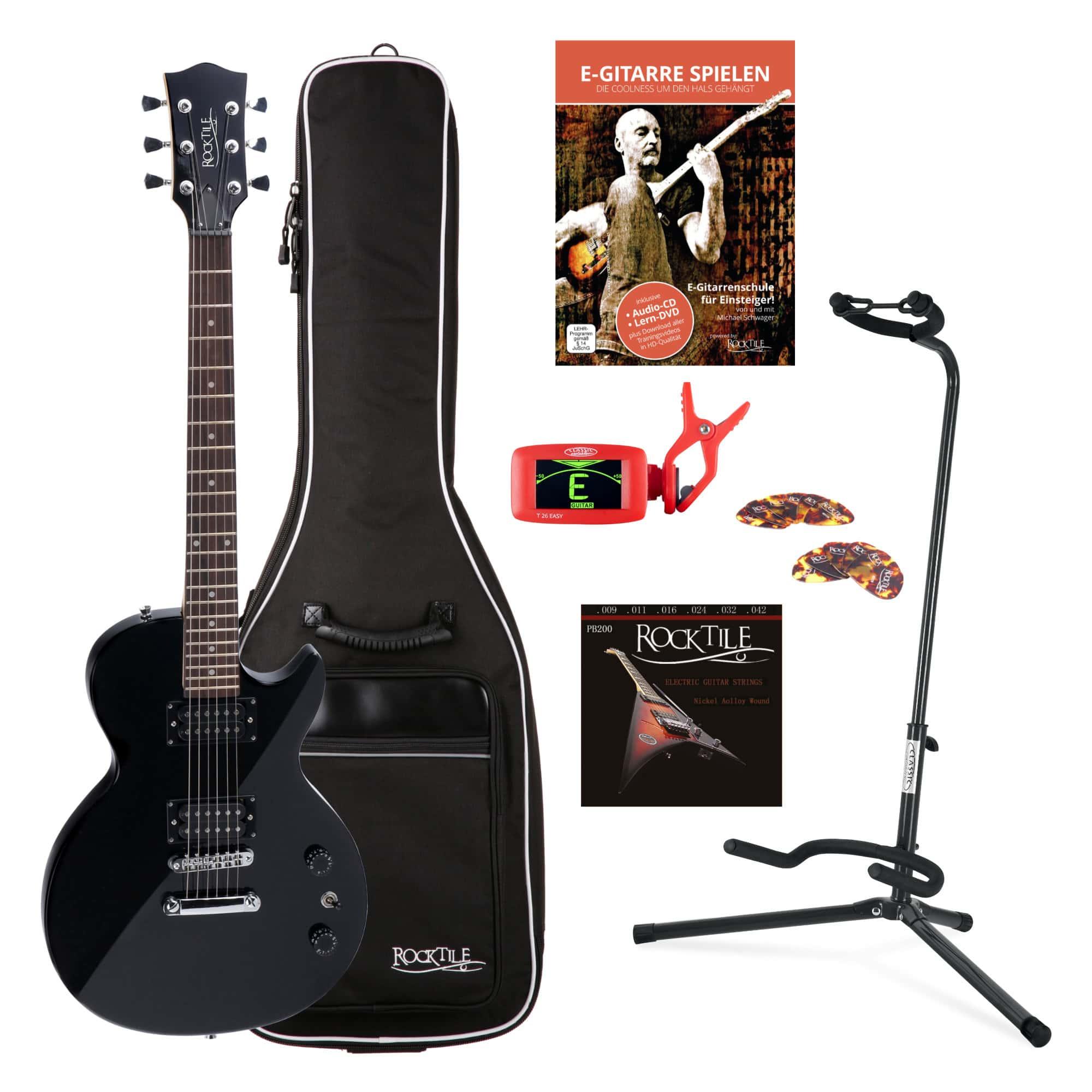 Rocktile L 100 BL E Gitarre Schwarz SET inkl. Gigbag Ständer Saiten Tuner Plektren