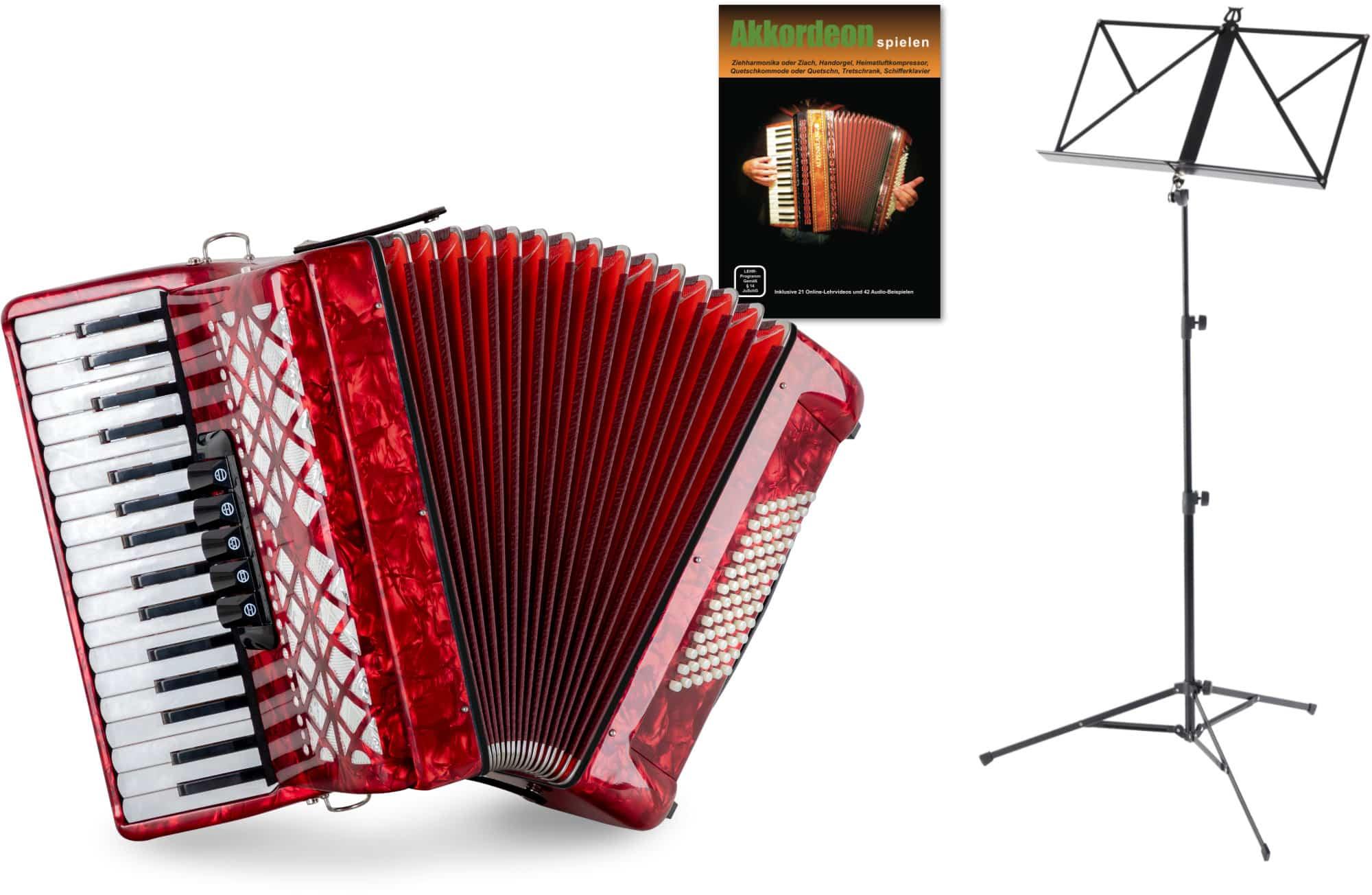Akkordeons - Classic Cantabile 72 Bass Akkordeon 'Secondo V' Set Rot - Onlineshop Musikhaus Kirstein