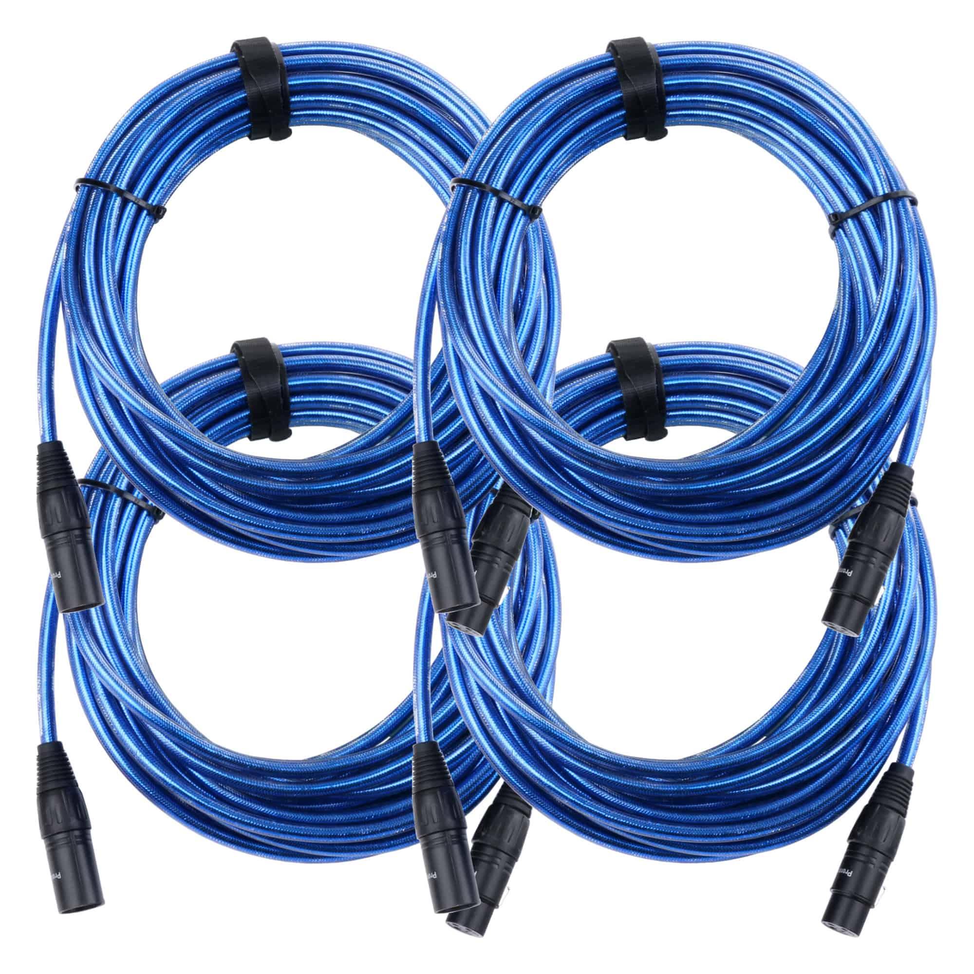 4er Set Pronomic Stage XFXM Blue 10 Mikrofonkabel XLR 10 m Metallic Blue