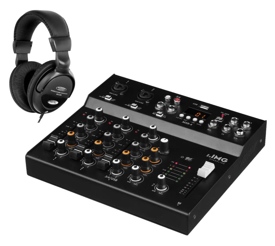 Mischpulte - IMG Stageline MXR 4 USB Mixer mit Bluetooth Set - Onlineshop Musikhaus Kirstein