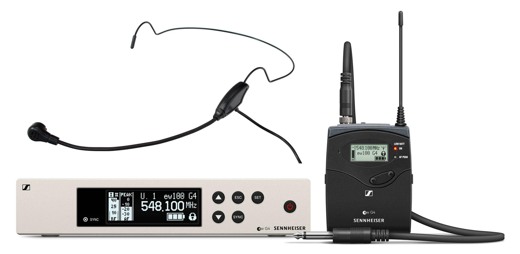 Drahtlossysteme - Sennheiser EW 100 G4 Ci1 Instrument Funkset E Band inkl. HS 65 EA Headset Schwarz - Onlineshop Musikhaus Kirstein