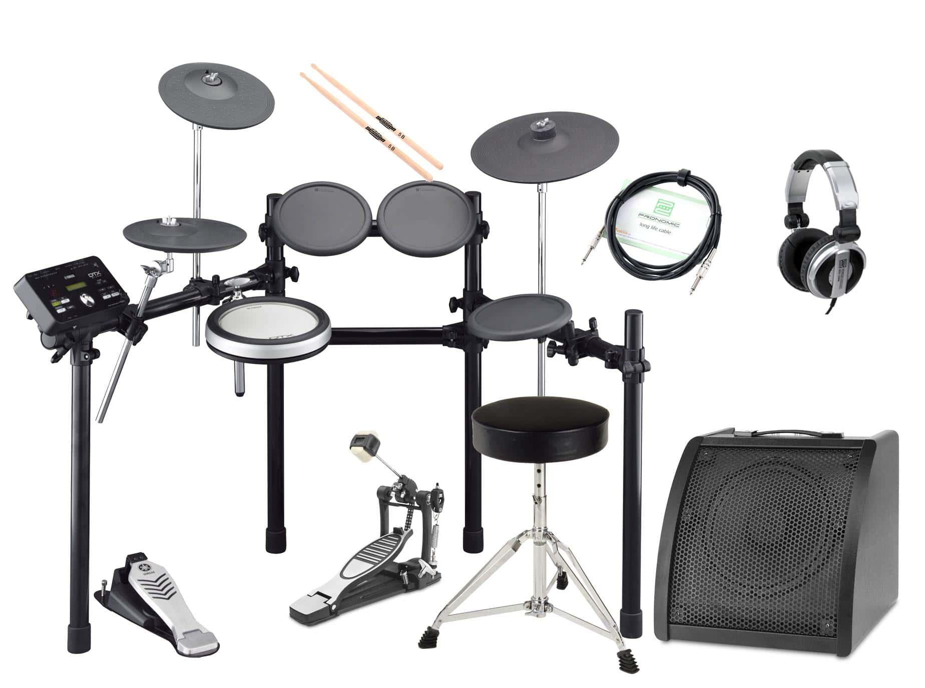 Yamaha DTX522K Compact E Drum SET inkl. Kopfhörer, Hocker, Drum Monitor und Sticks
