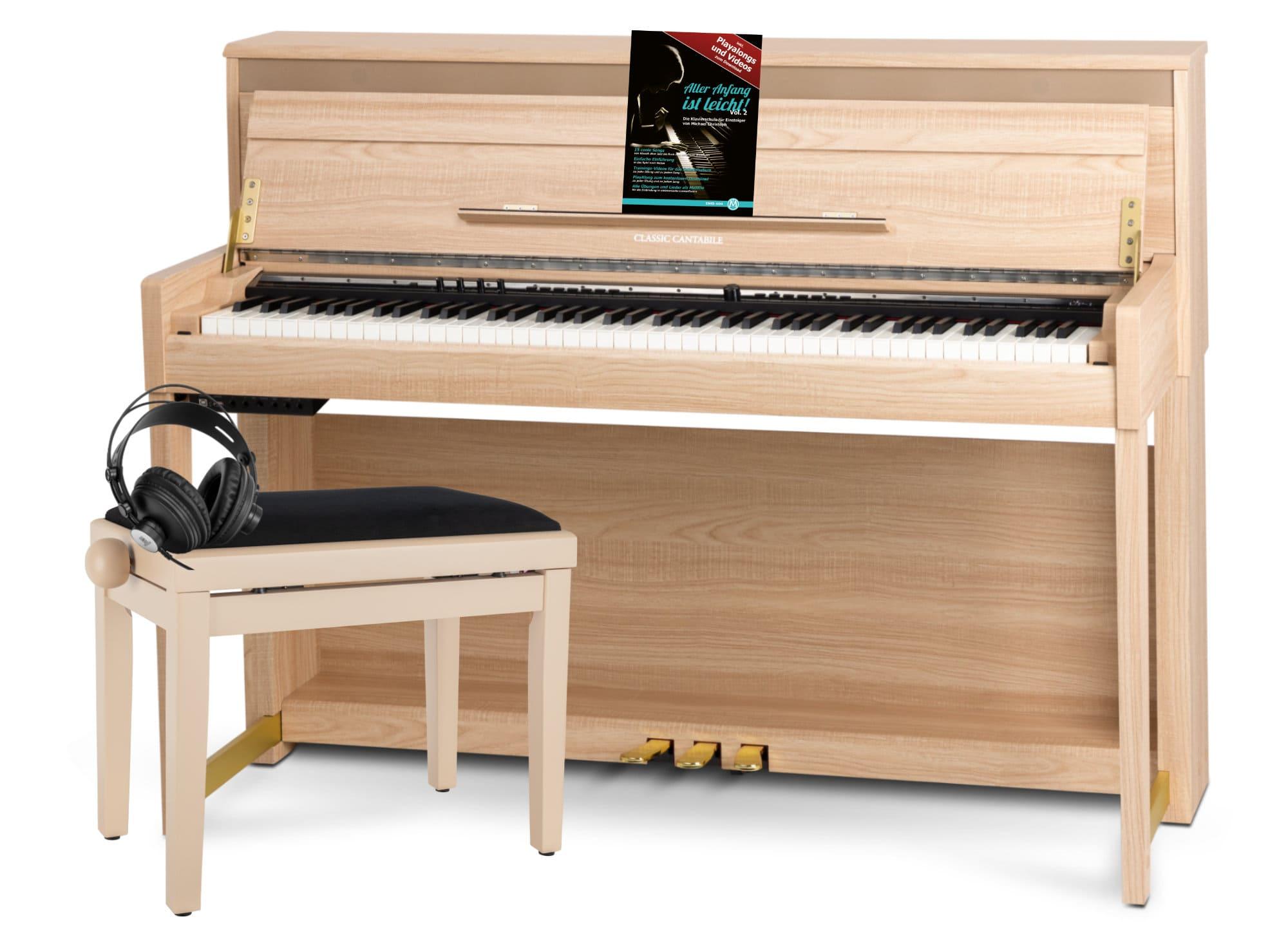 Digitalpianos - Classic Cantabile UP 1 LA E Piano Eiche hell Deluxe Set - Onlineshop Musikhaus Kirstein