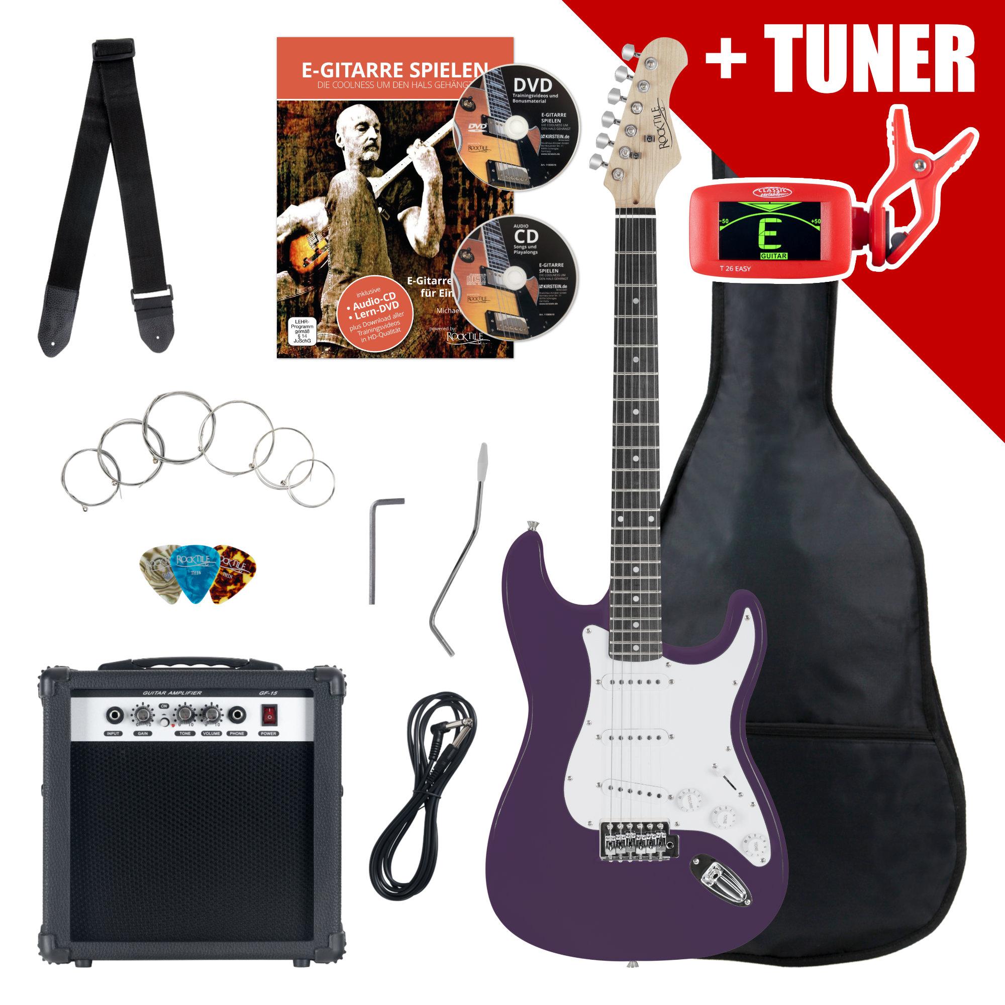 Rocktile ST Pack E Gitarre Set Purple inkl. Verstärker, Tasche, Stimmgerät, Kabel, Gurt, Saiten und Schule inkl. CD|DVD