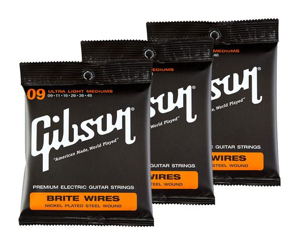 Saiten - Gibson Brite Wires Ultra Light Mediums 3er SET - Onlineshop Musikhaus Kirstein