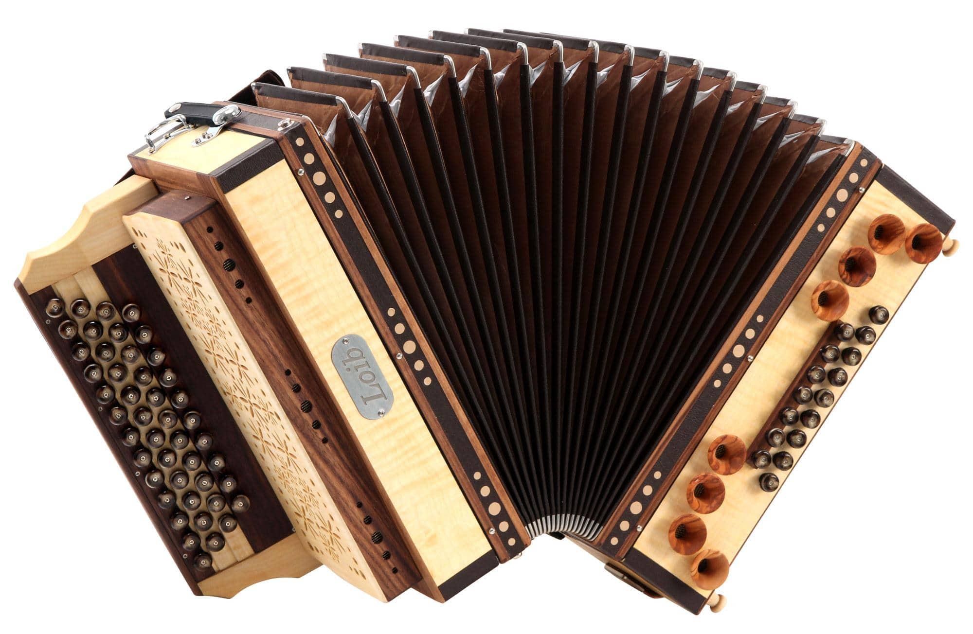 Loib Harmonika IVD Ahorn G-C-F-B H-Bass X-Bass Holzverdeck