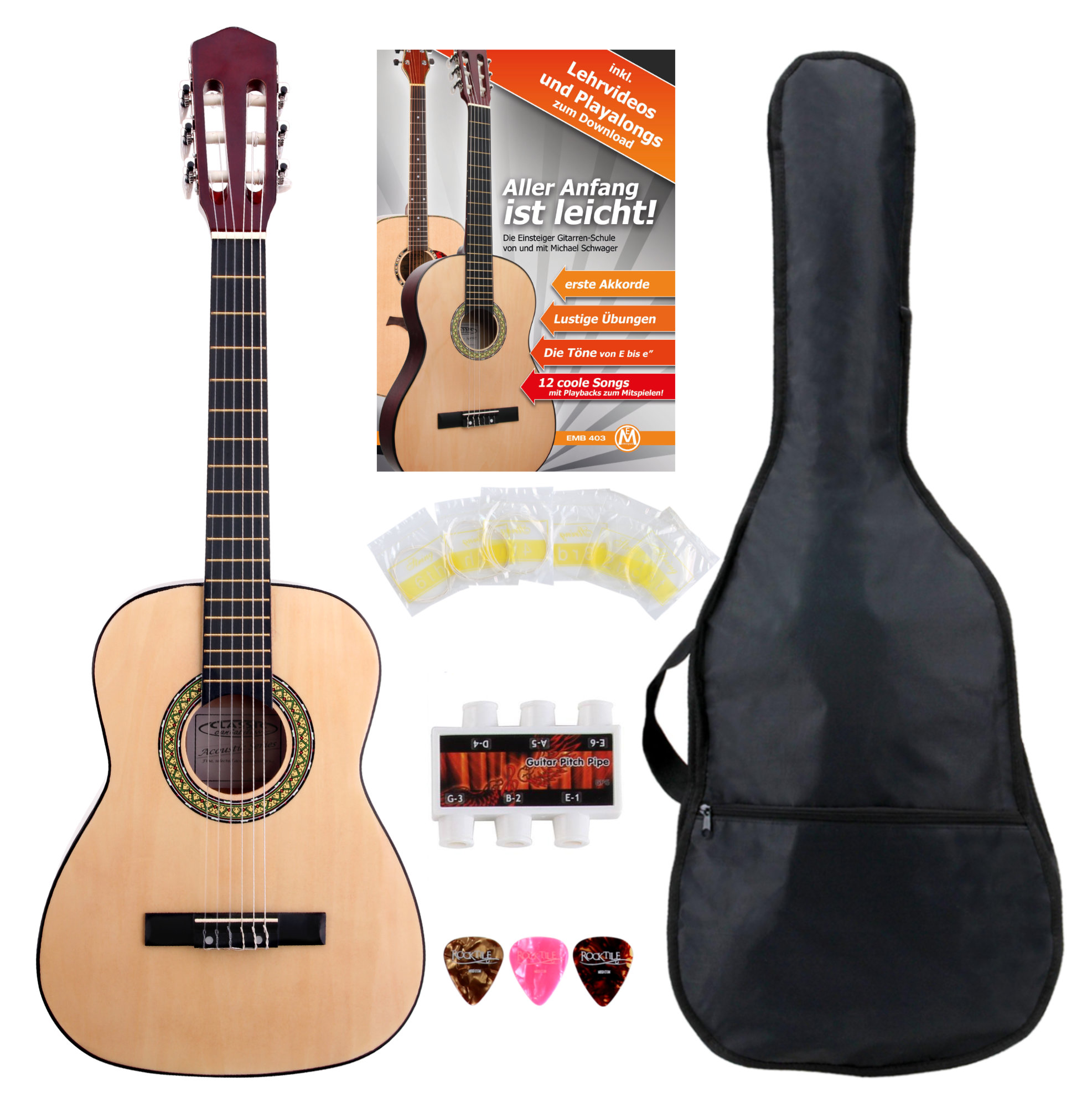 Classic Cantabile Acoustic Series AS 851 L Klassikgitarre 1|2 für Linkshänder Starter SET