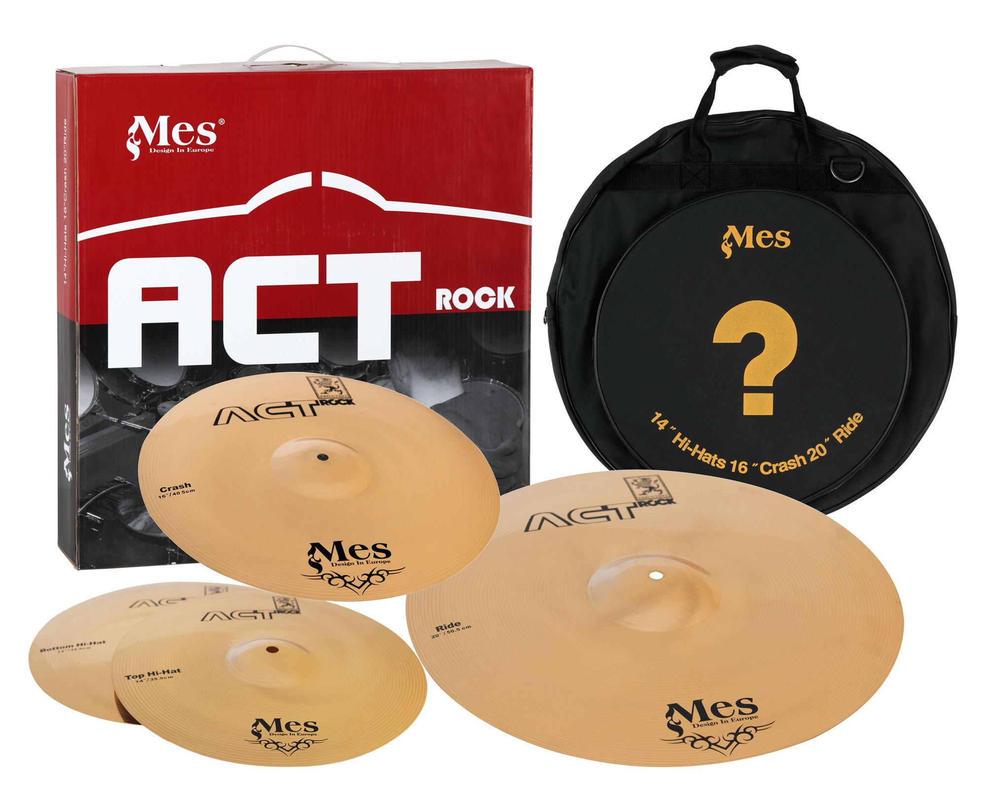 mes drums act series cymbals set 14 hh 16 crash 20 ride. Black Bedroom Furniture Sets. Home Design Ideas
