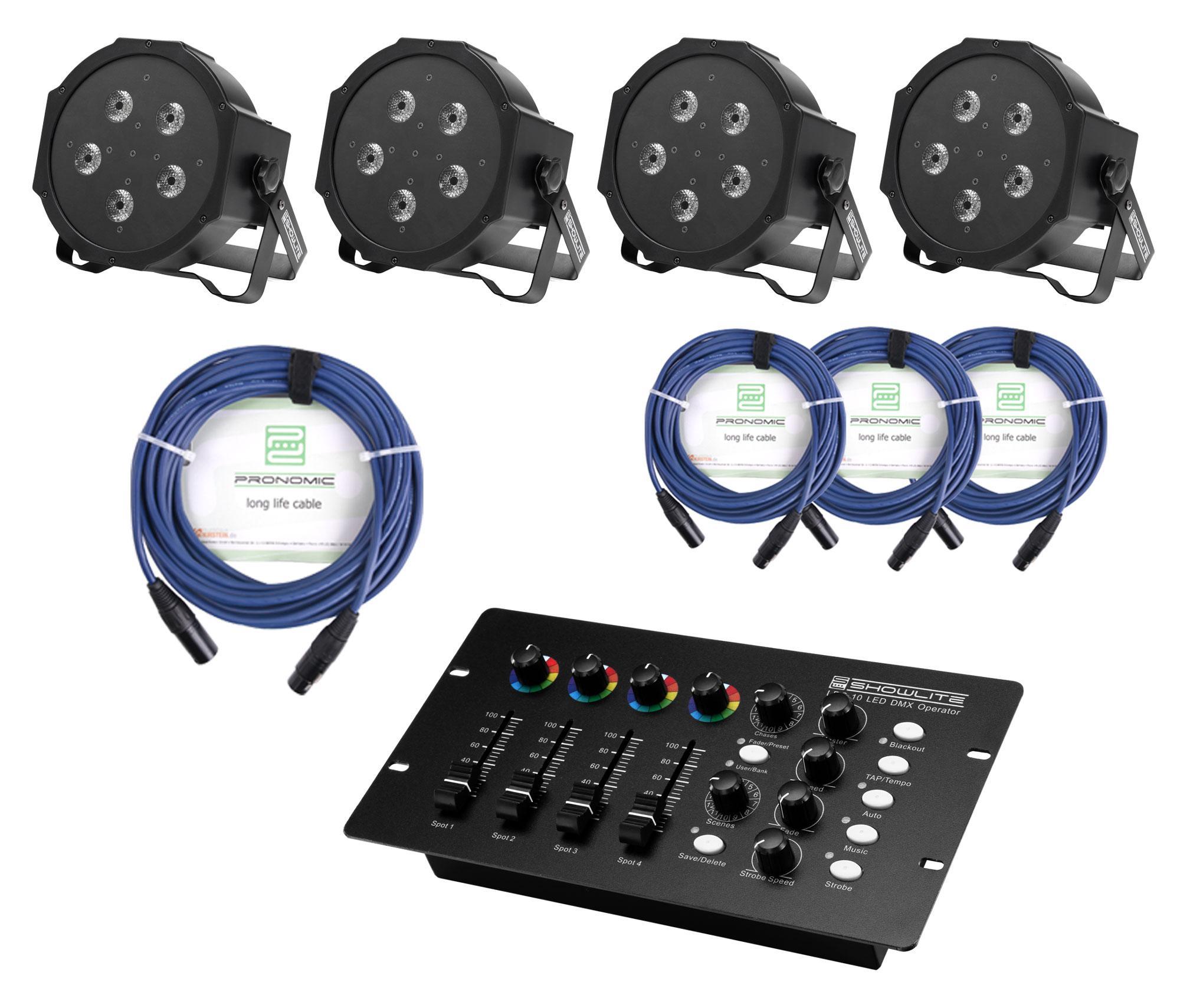 Showlite FLP 5x10W Scheinwerfer 4 x Set inkl. DMX Controller Kabel