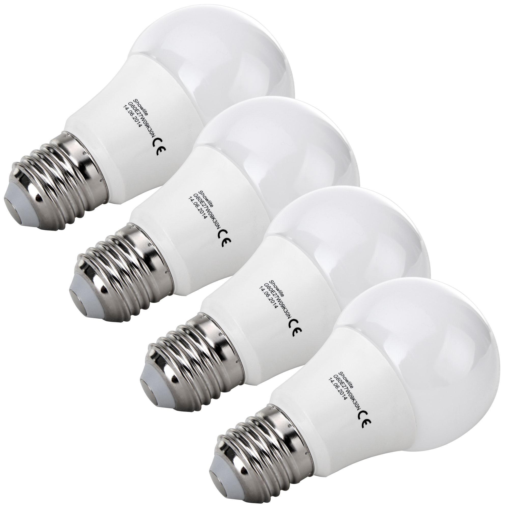 4x set showlite led spotlight g60e27w09k30n 9 watt 860 lumen socket e27 3000 kelvin. Black Bedroom Furniture Sets. Home Design Ideas
