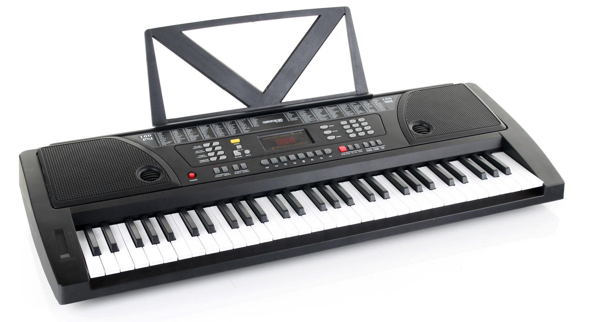 Kirstein Fun Keyboard 61 Tasten inkl. Netzteil und Notenhalter Schwarz