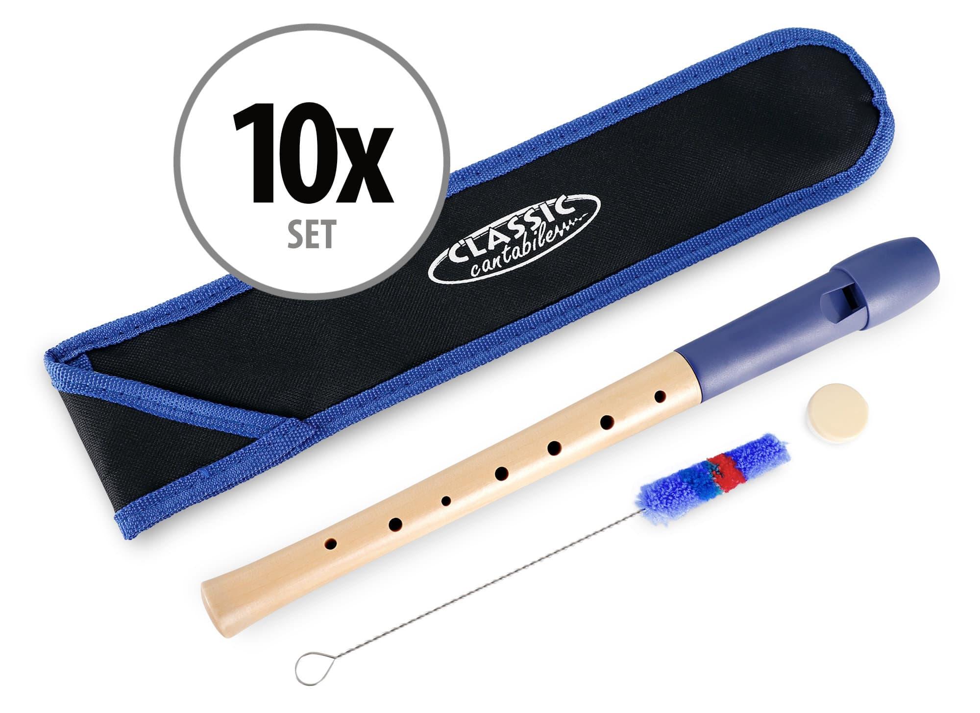 Sonstigeblasinstrumente - Classic Cantabile Pivella Blockflöte Blau, deutsche Griffweise 10er Set - Onlineshop Musikhaus Kirstein