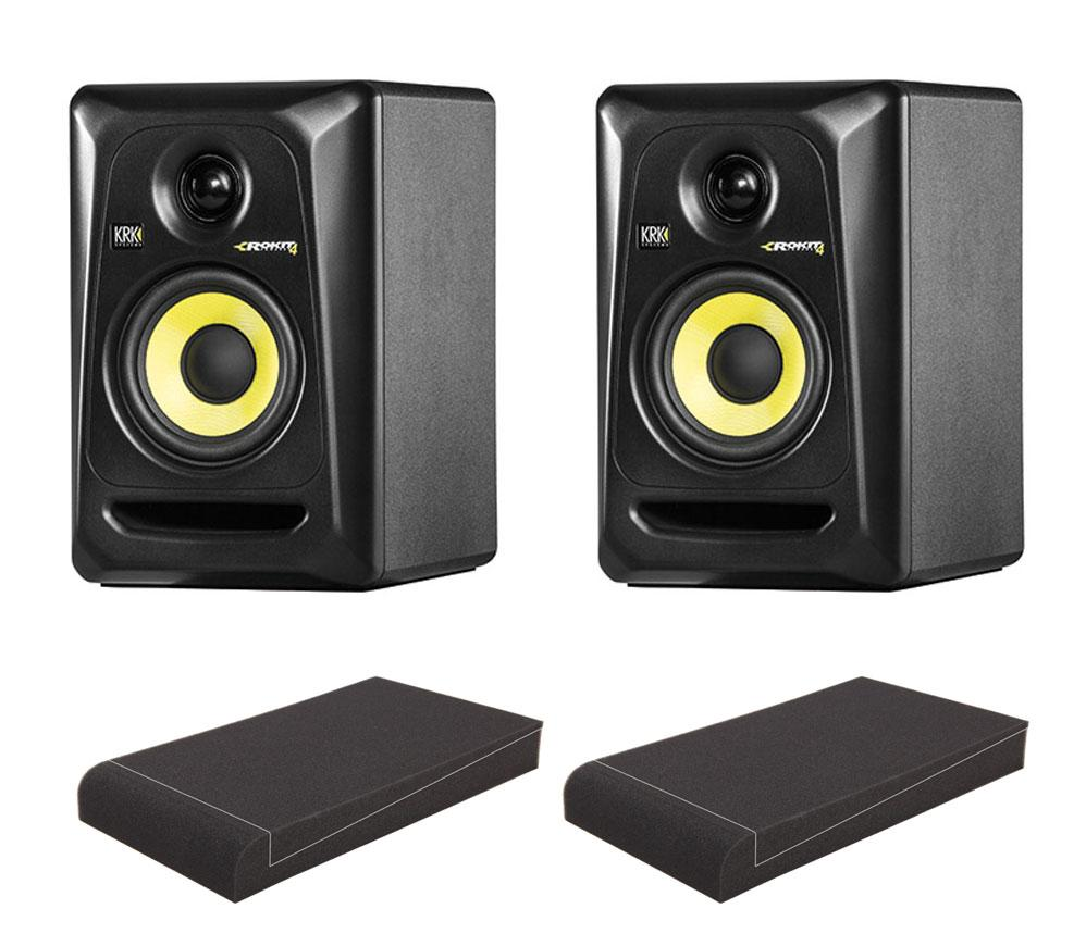 KRK ROKIT RP4 G3 Studio Monitor SET mit Pronomic ISO Stand 5' Absorberplatten