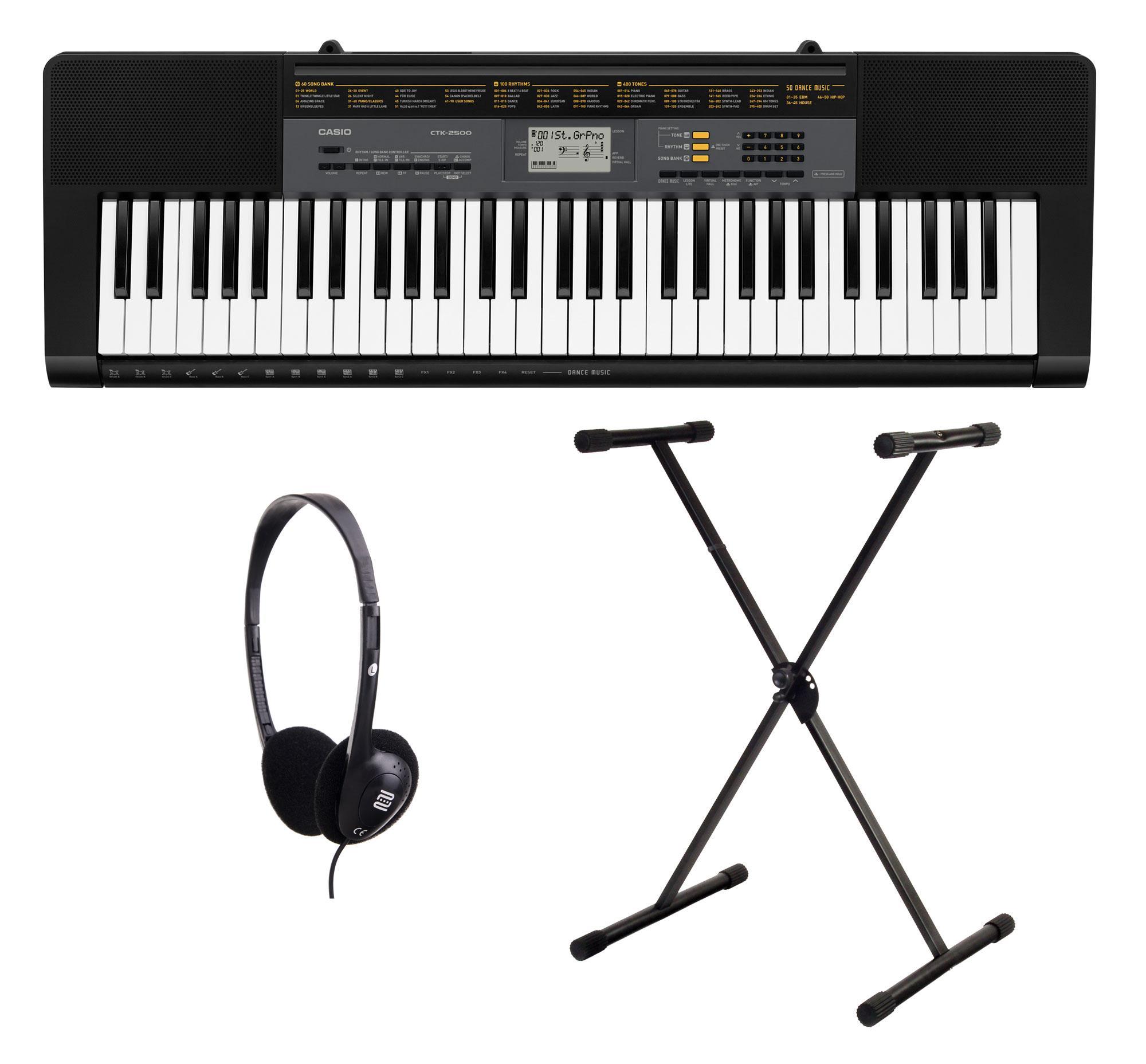 Casio CTK 2500 Keyboard Set mit Ständer und Kopfhörer