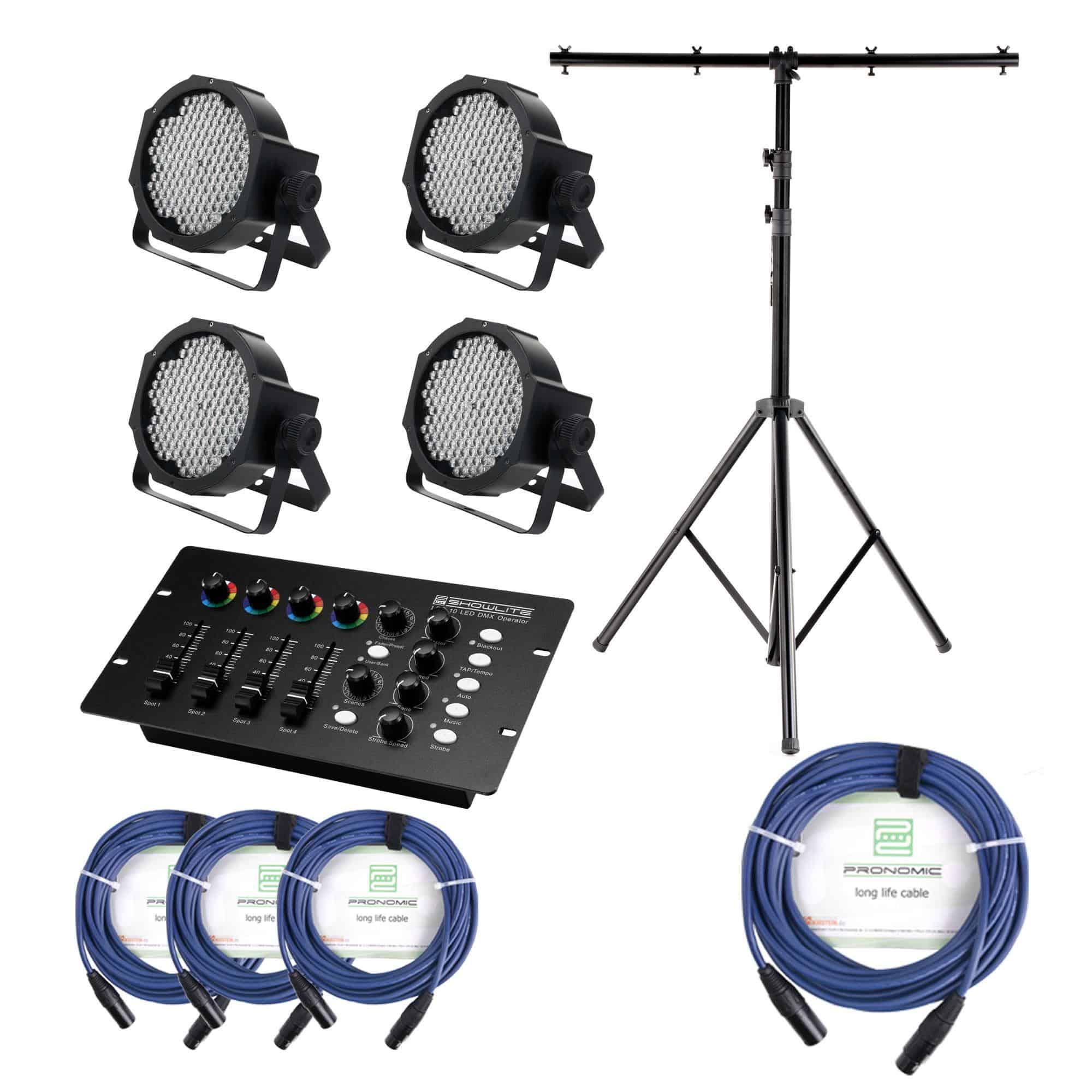 Lichtsets - Showlite FLP 144W Scheinwerfer 4 x Set inkl. DMX Controller, Stativ Kabel - Onlineshop Musikhaus Kirstein