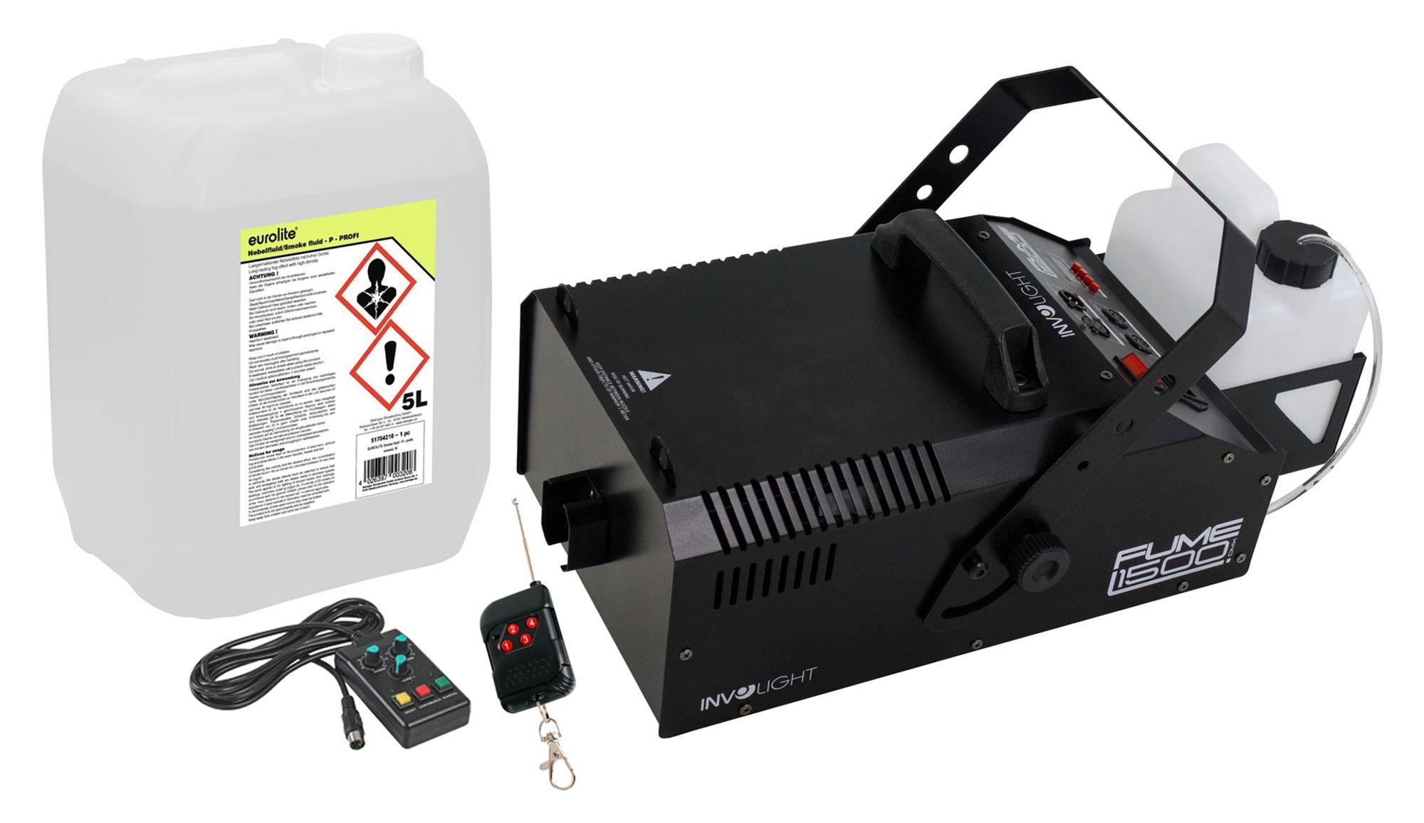 Nebeleffekte - Involight Fume 1500 DMX Nebelmaschinen D 800 Set inkl. Smoke Fluid, 5L - Onlineshop Musikhaus Kirstein