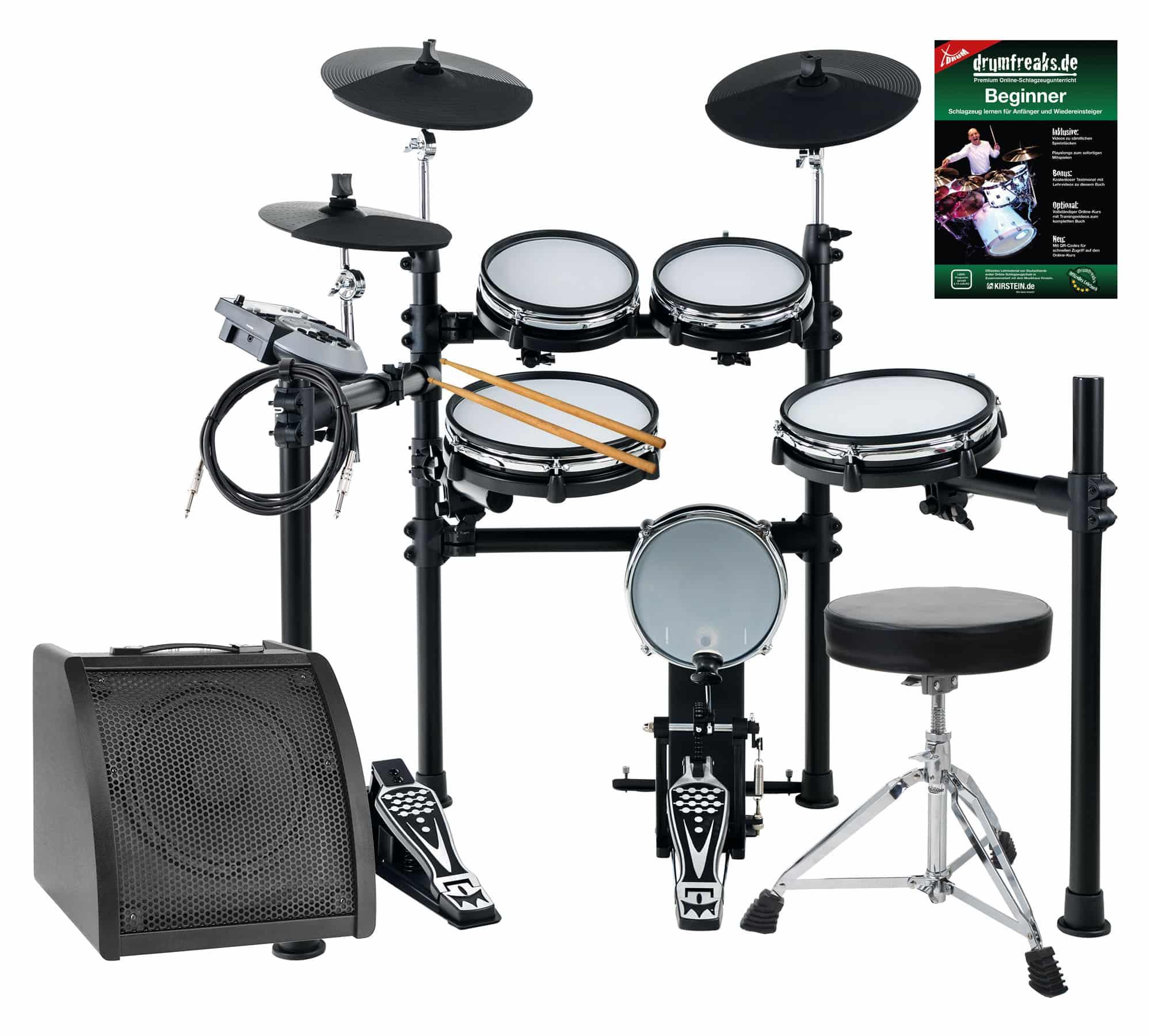 XDrum DD 530 Mesh Heads E Drum LIVE SET mit Drum Monitor und Hocker