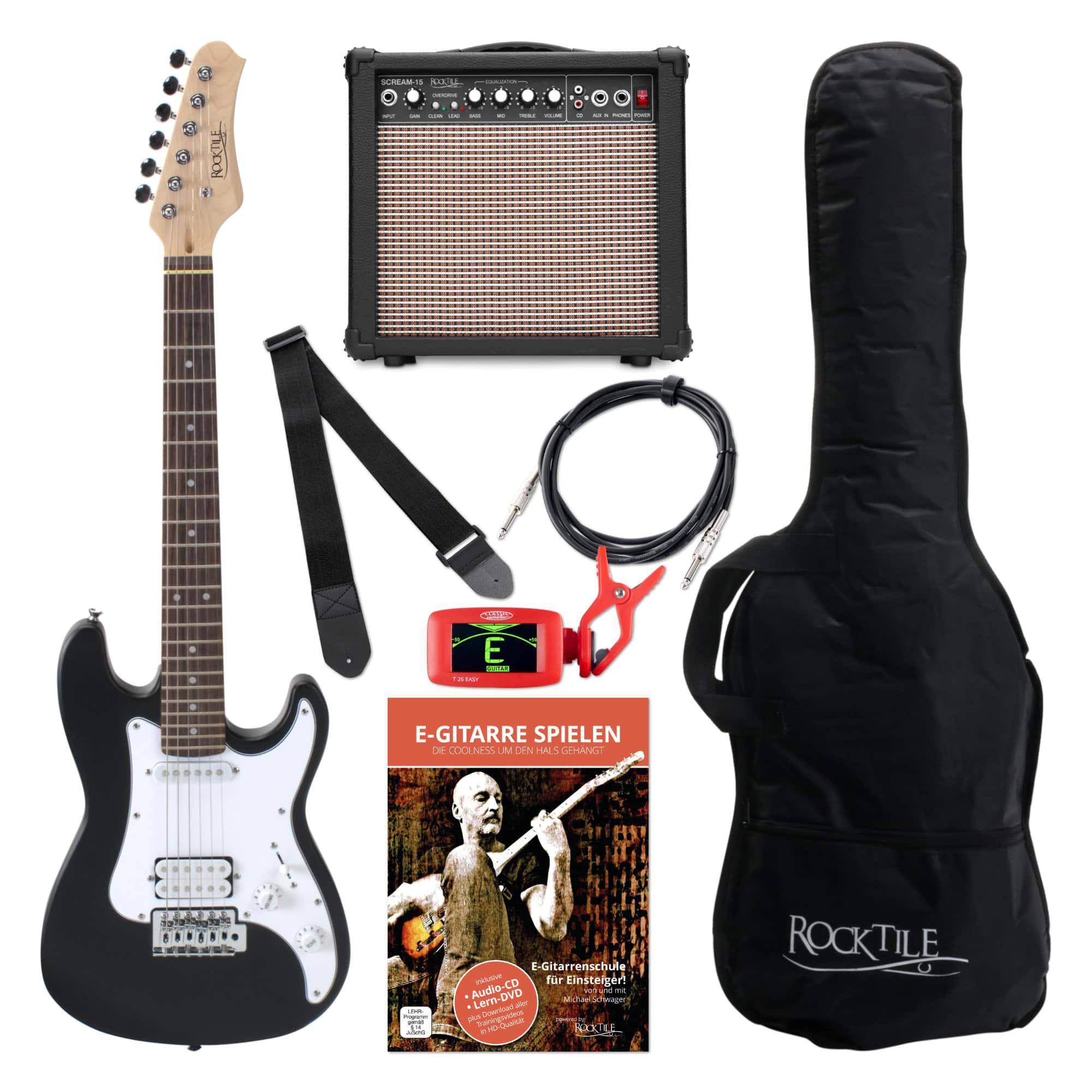 Rocktile Sphere Junior E Gitarre 3|4 Schwarz SET inkl. Verstärker, Kabel und Gurt